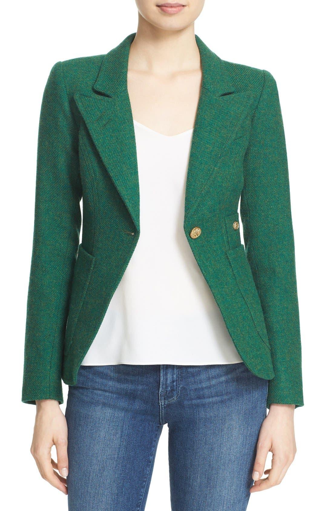Main Image - Smythe 'Duchess' Suede Trim Wool Blend Blazer