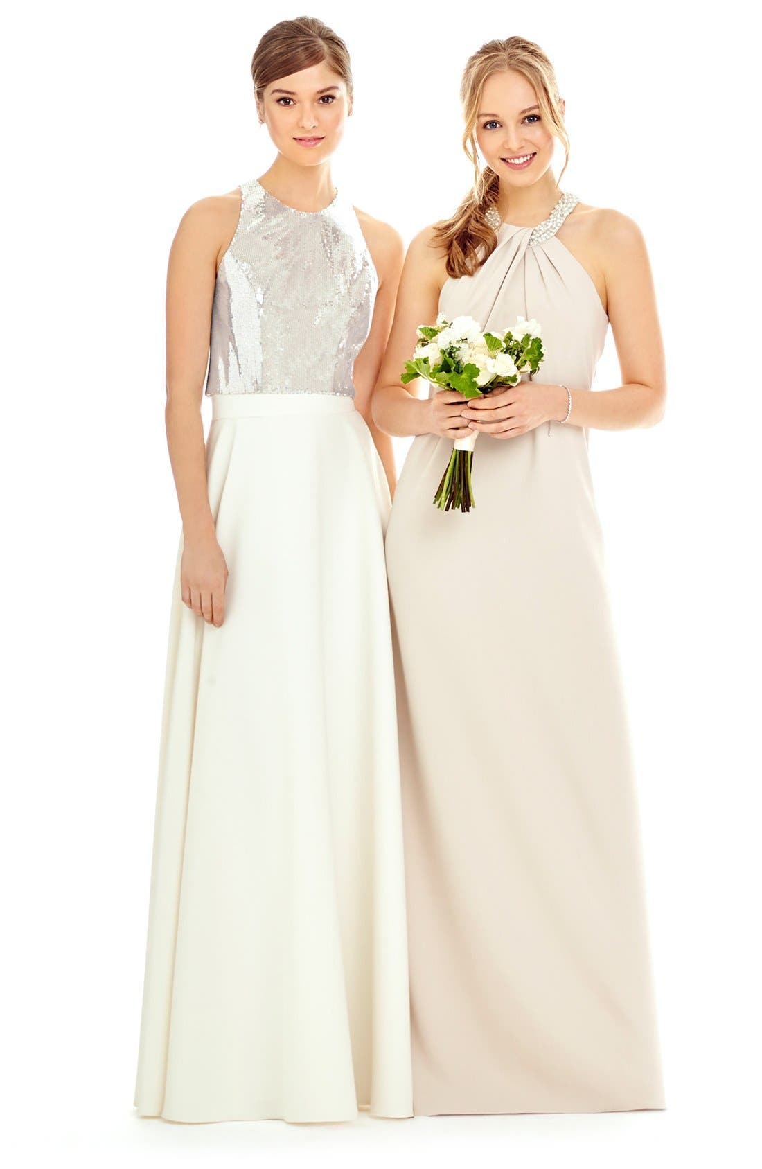 Alternate Image 7  - Dessy Collection Beaded Halter Neck Crepe Gown