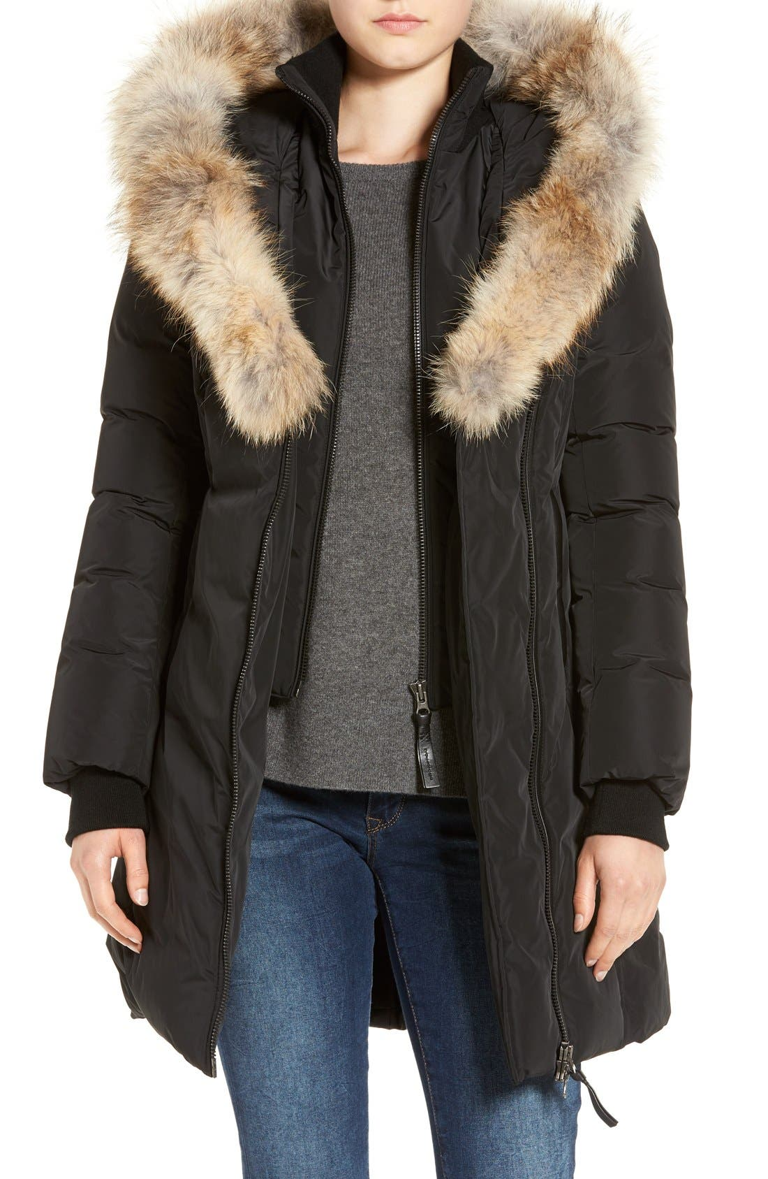 Down Puffer with Coyote Fur Trim,                             Main thumbnail 1, color,                             Black
