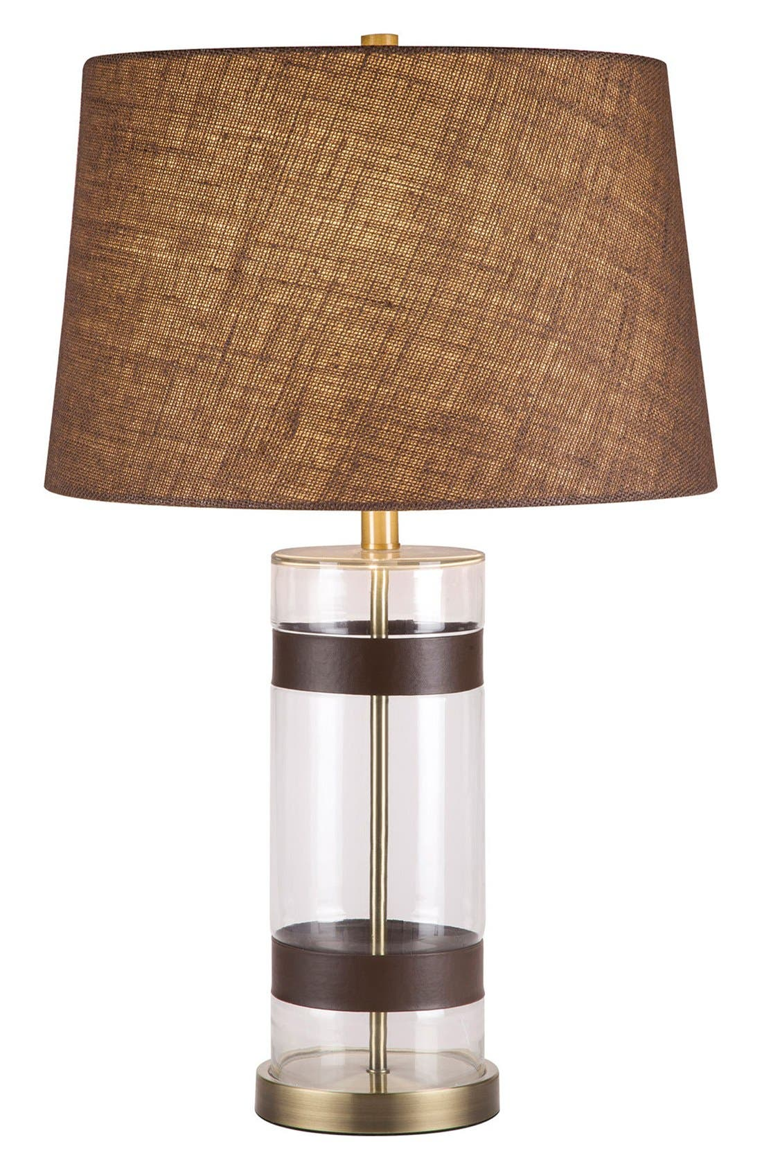 JAlexander Glass & Faux Leather Table Lamp,                         Main,                         color, White