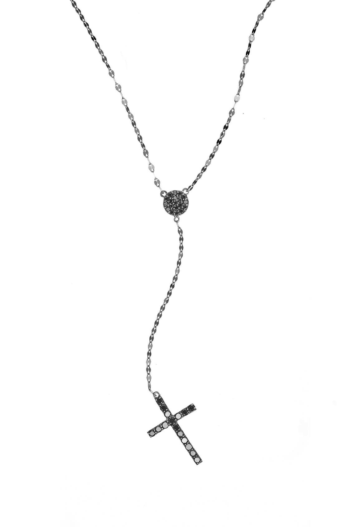 'Crossary' Y-Necklace,                             Main thumbnail 1, color,                             Black