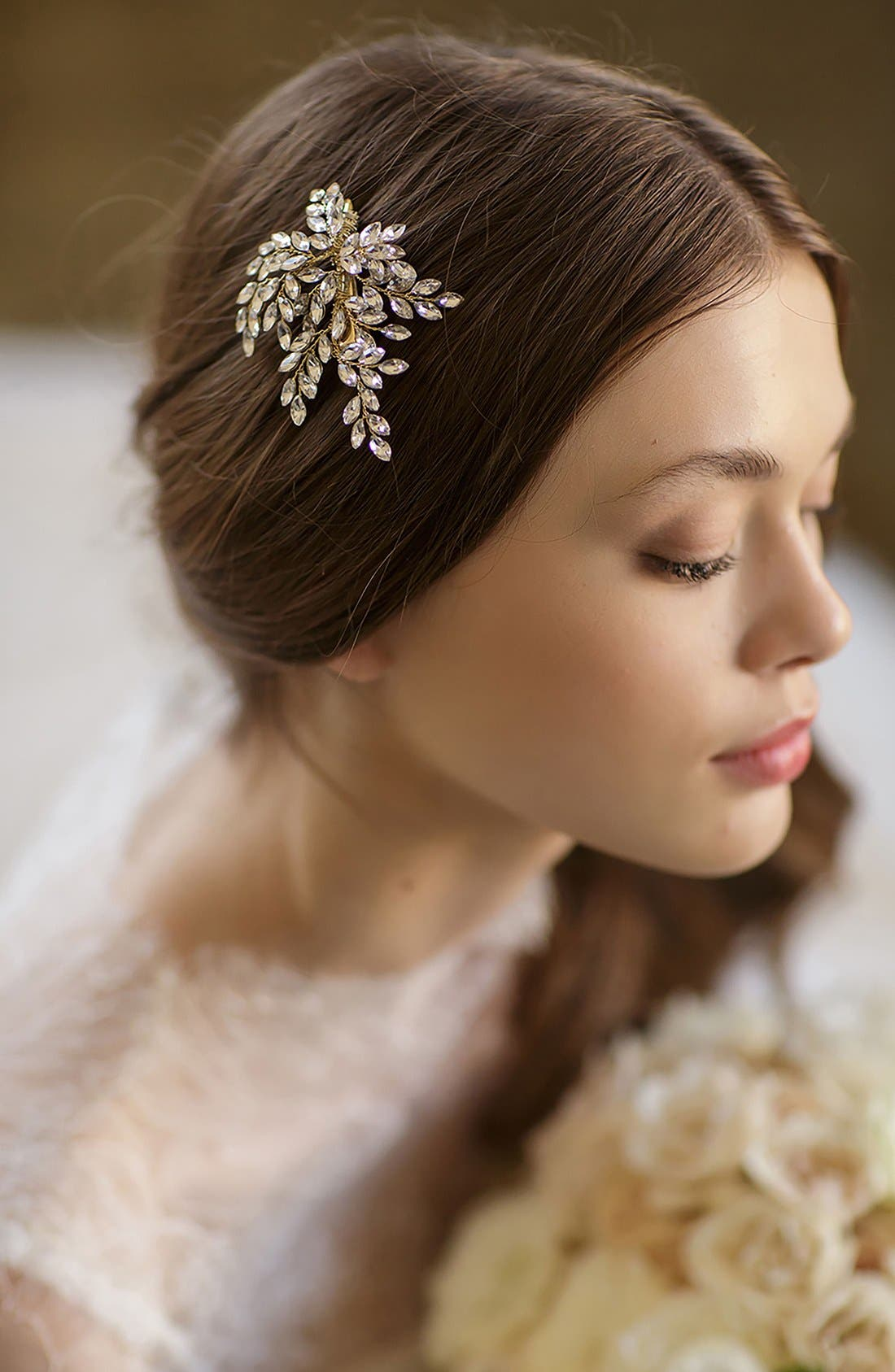 Brides & Hairpins 'Sahara' Crystal Leaf Bendable Hair Clip