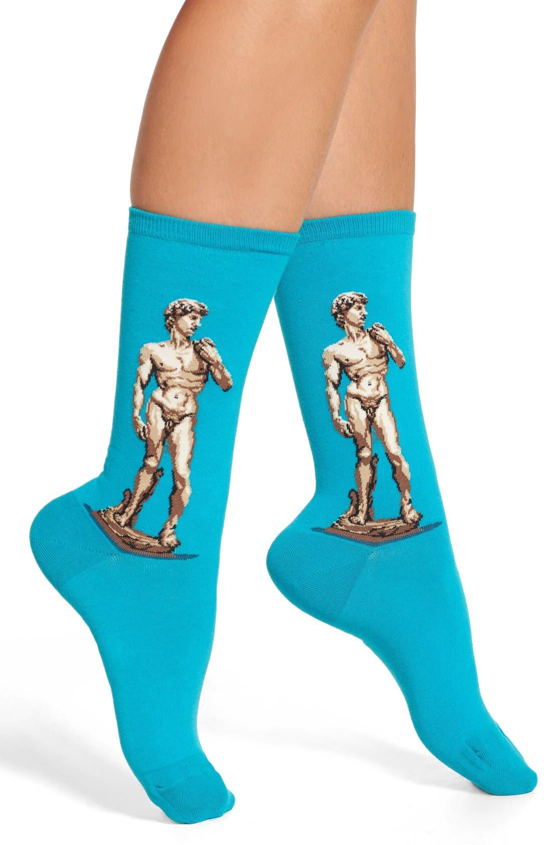 'David' Crew Socks,                         Main,                         color, Teal