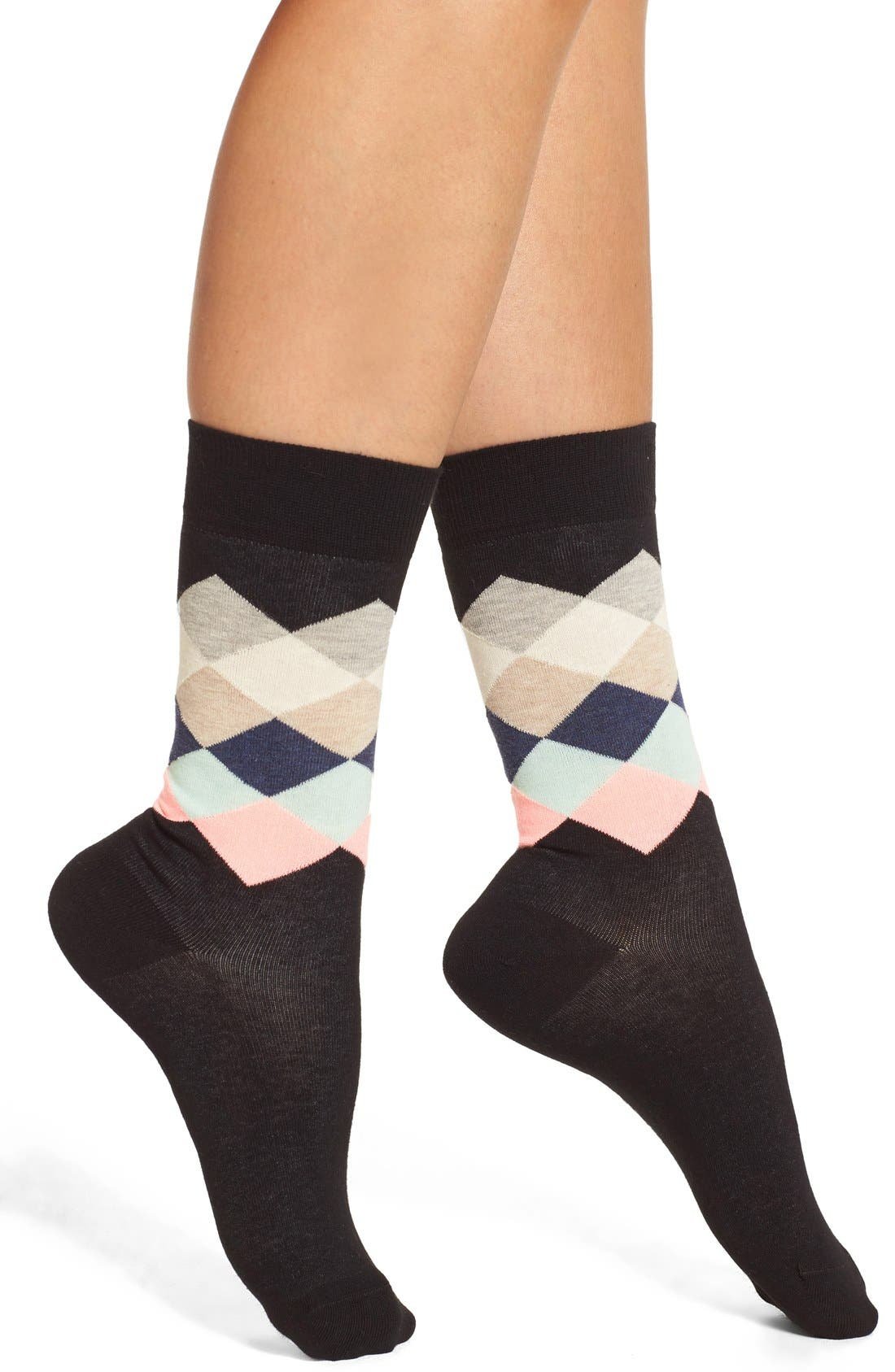 Happy Socks 'Faded Diamond' Crew Socks