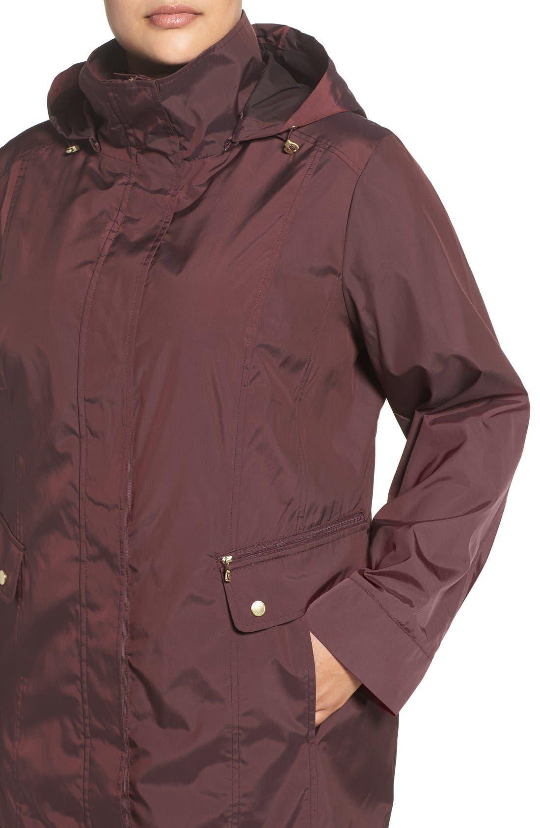Cole Haan Water Resistant Rain Jacket,                             Alternate thumbnail 4, color,                             Eggplant