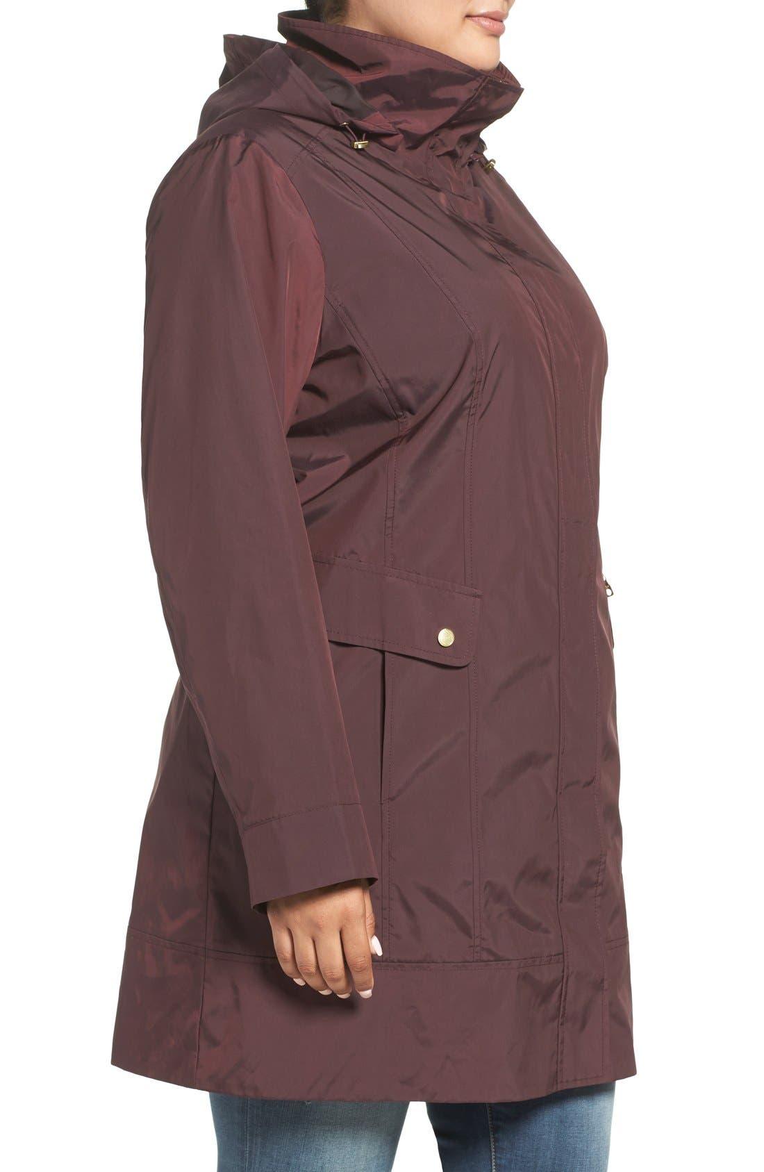 Cole Haan Water Resistant Rain Jacket,                             Alternate thumbnail 3, color,                             Eggplant