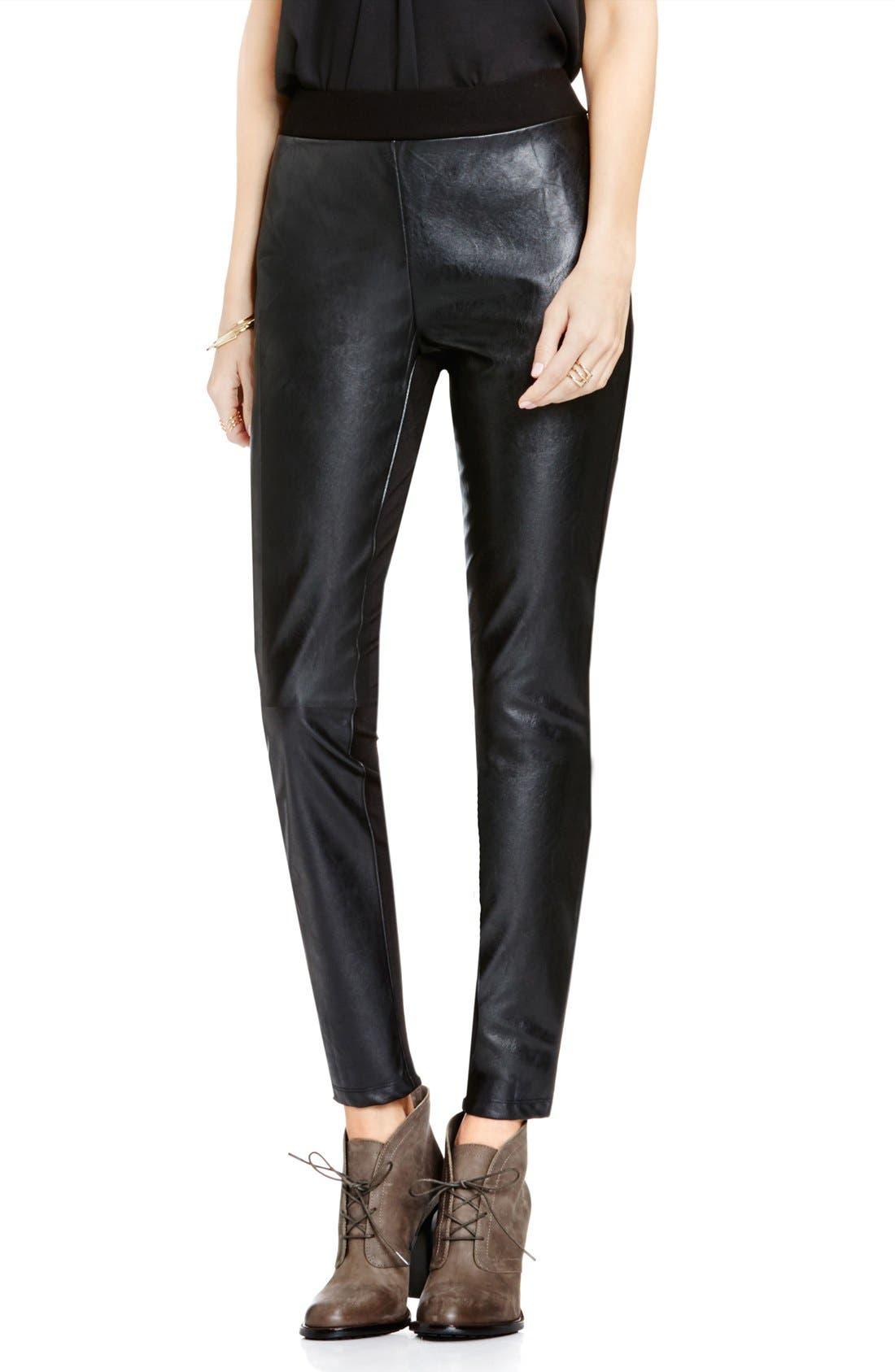 Faux Leather & Ponte Leggings,                             Main thumbnail 1, color,                             Rich Black