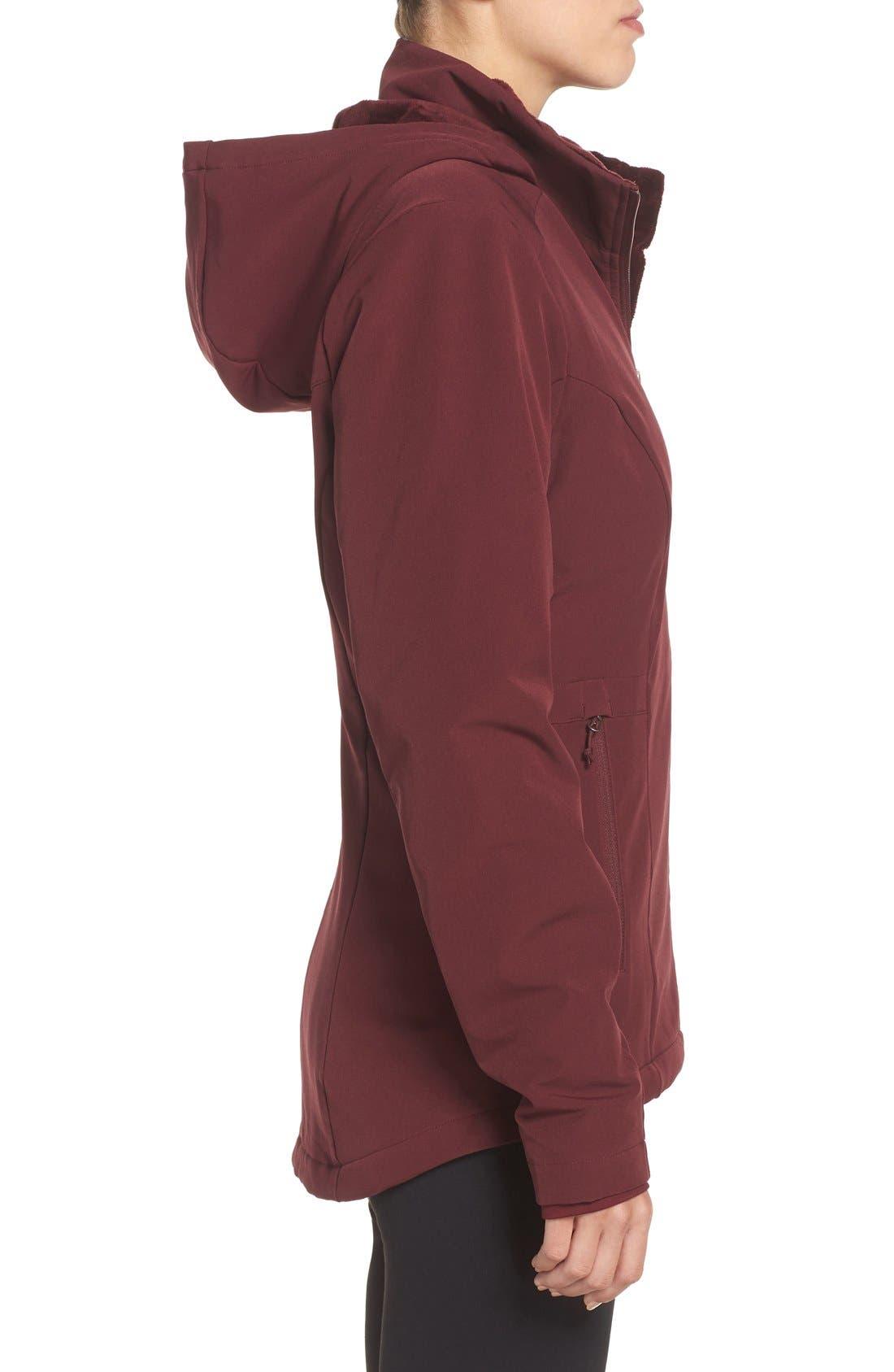 'Shelbe Raschel' Softshell Jacket,                             Alternate thumbnail 3, color,                             Deep Garnet Red