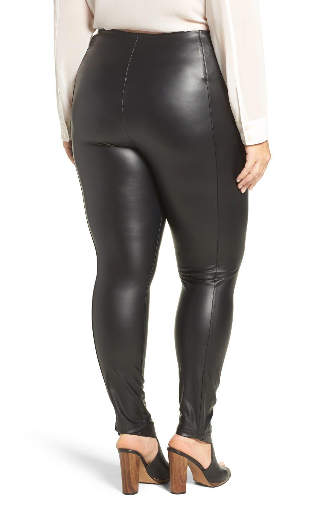 High Waist Faux Leather Leggings,                             Alternate thumbnail 2, color,                             Black