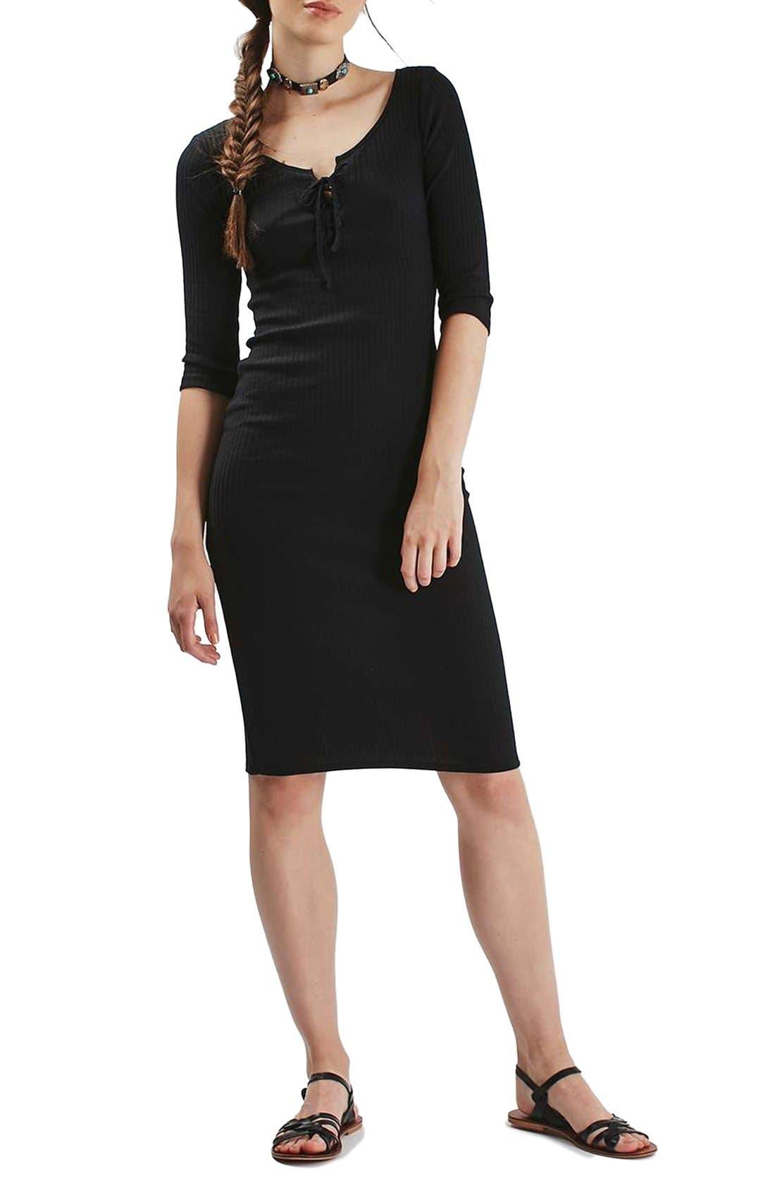 Main Image - Topshop Lace-Up Ribbed Body-Con Midi Dress
