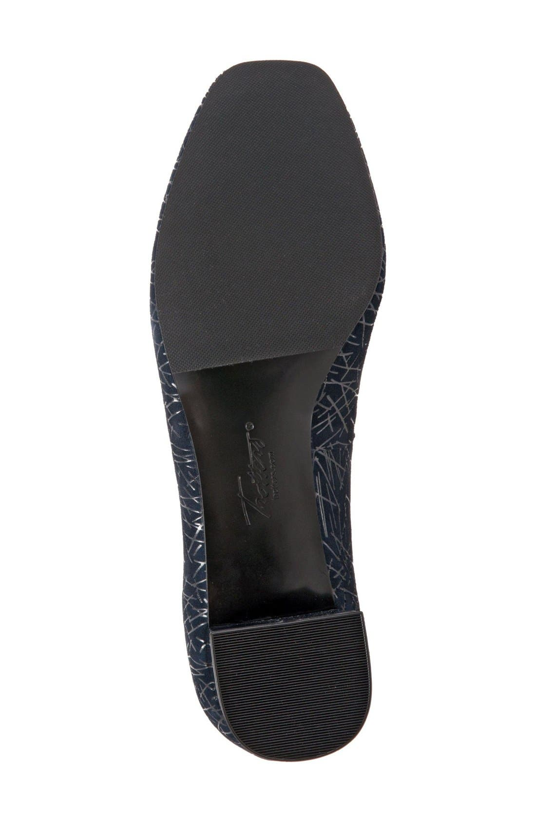 'Lola' Pump,                             Alternate thumbnail 4, color,                             Navy Embossed Leather