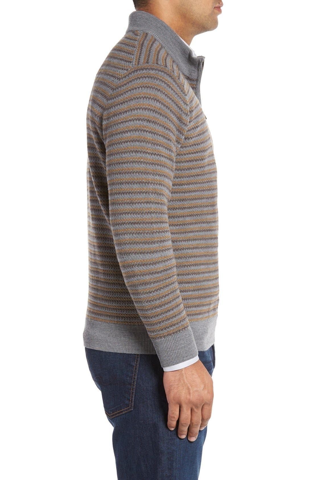 'Douglas Range' Quarter Zip Stripe Wool Blend Sweater,                             Alternate thumbnail 3, color,                             Brown/ Multi