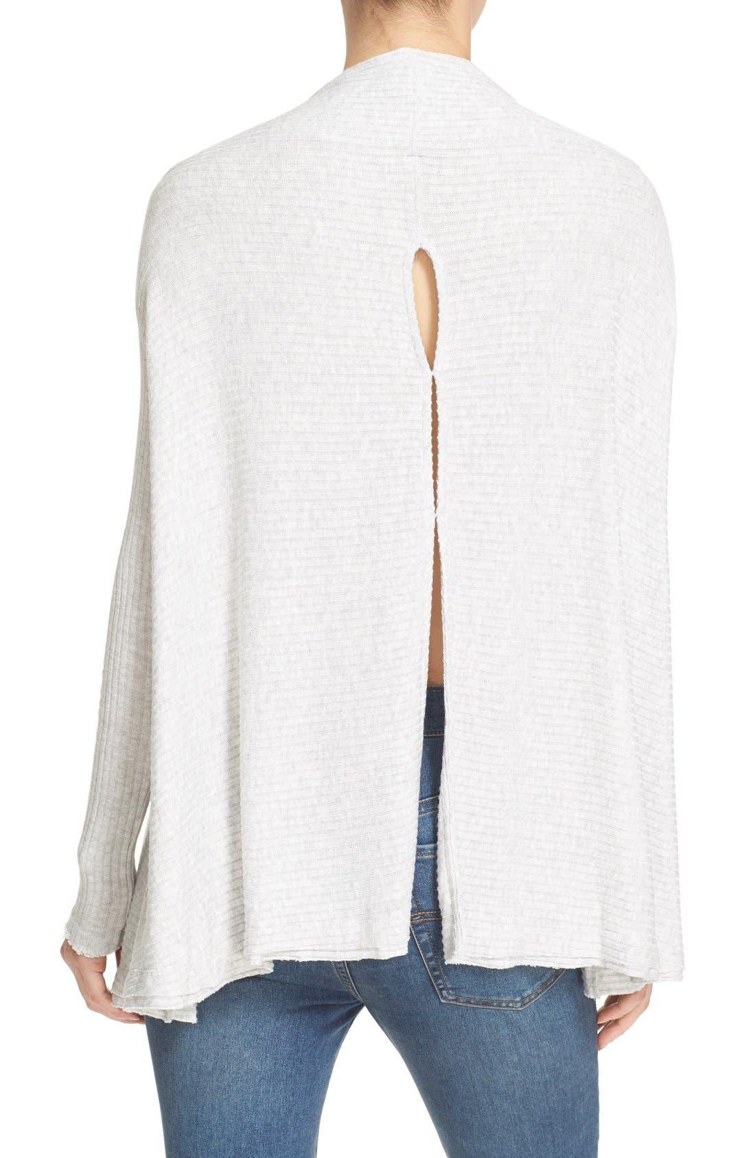 Lover Rib Split Back Pullover,                             Alternate thumbnail 2, color,                             Grey