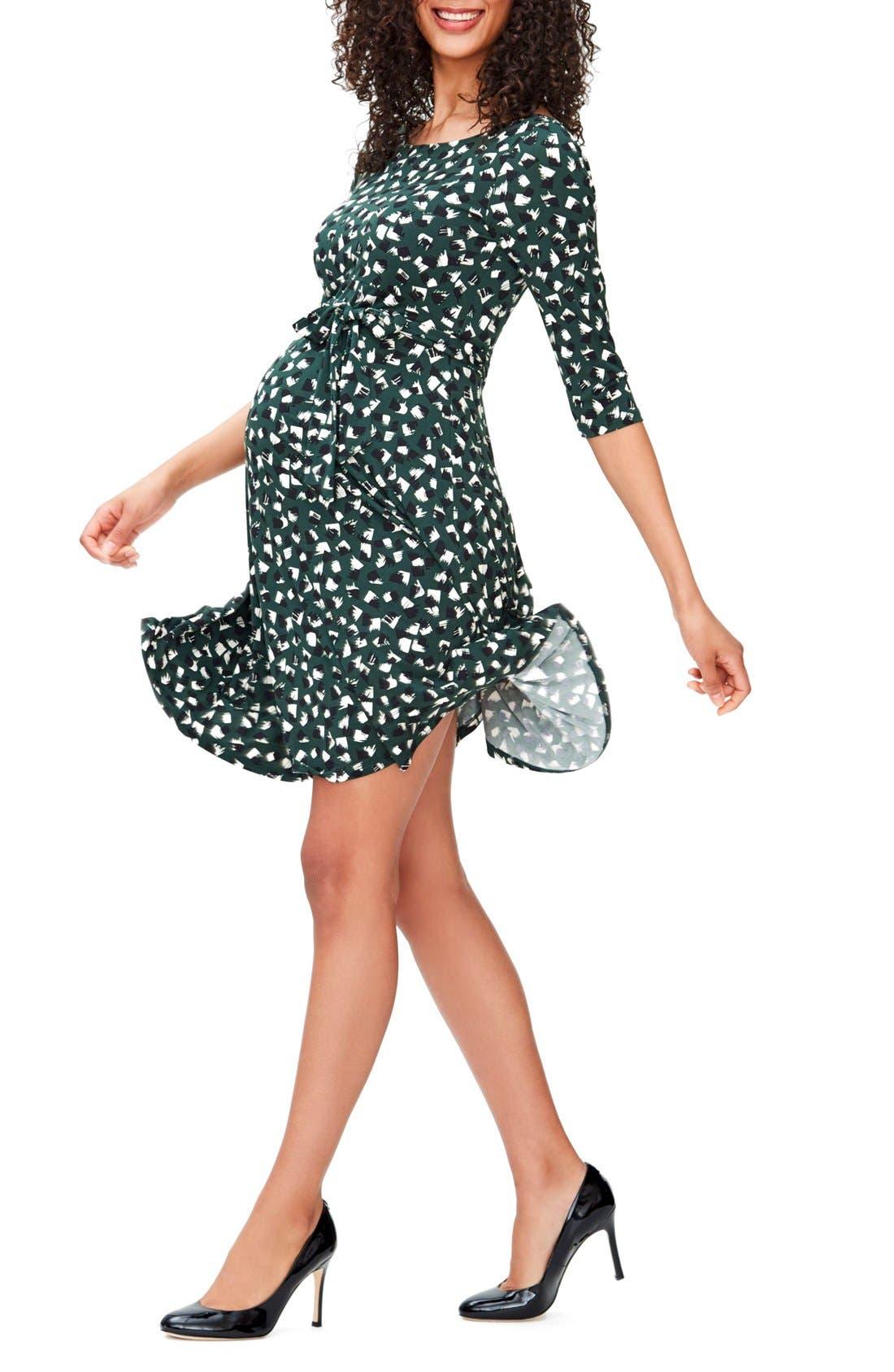 'Ilana' Belted Maternity Dress,                             Alternate thumbnail 3, color,                             Fringe Hunter