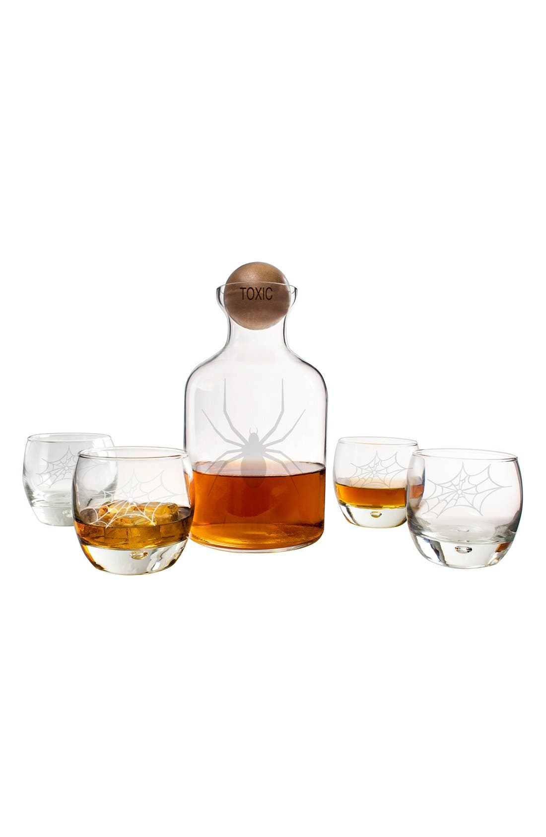 'Toxic Spider' 6-Piece Glass Decanter Set,                             Alternate thumbnail 3, color,                             Clear