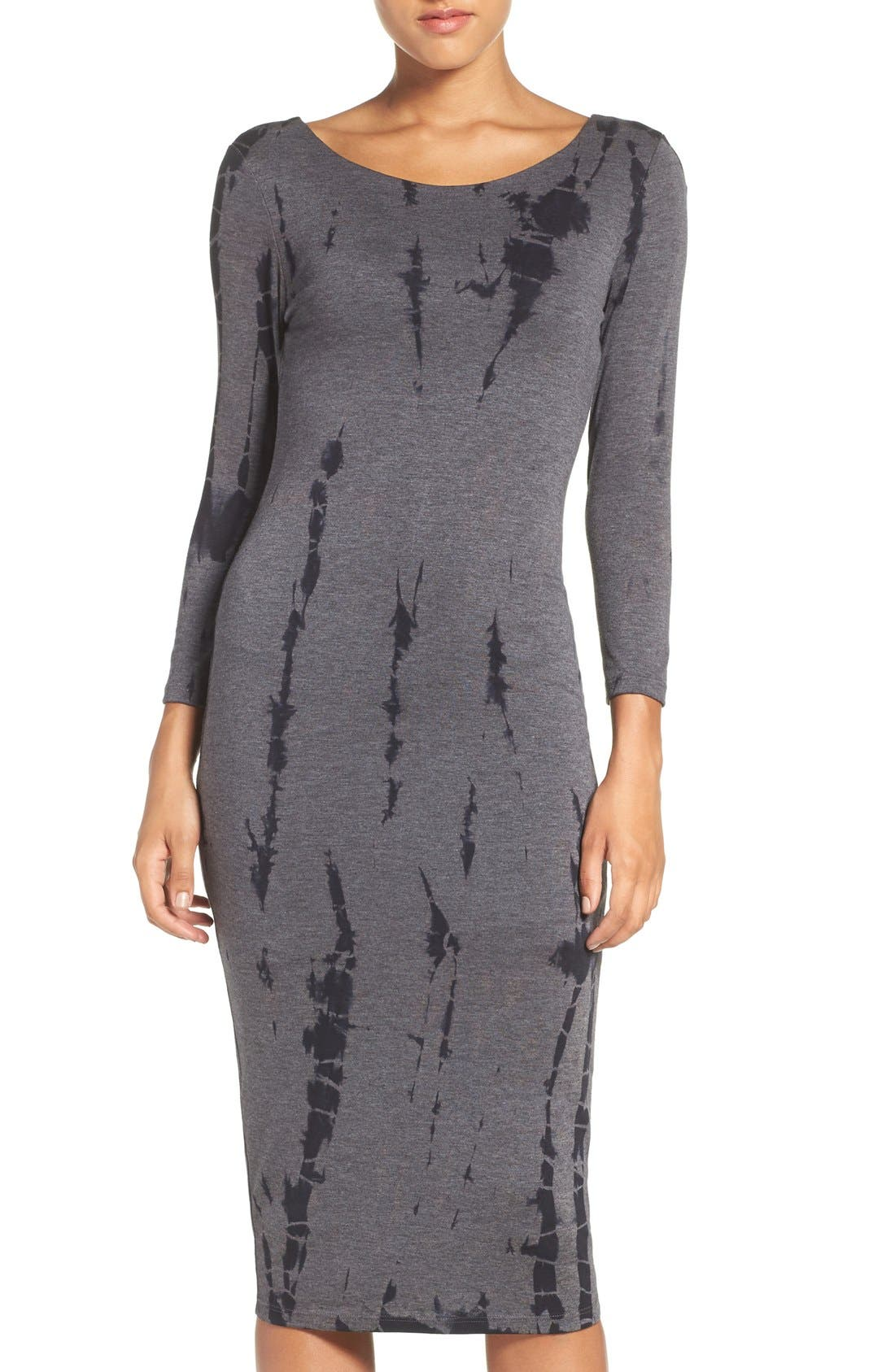 Cutout Back Tie Dye Body-Con Dress,                         Main,                         color, Charcoal Ink