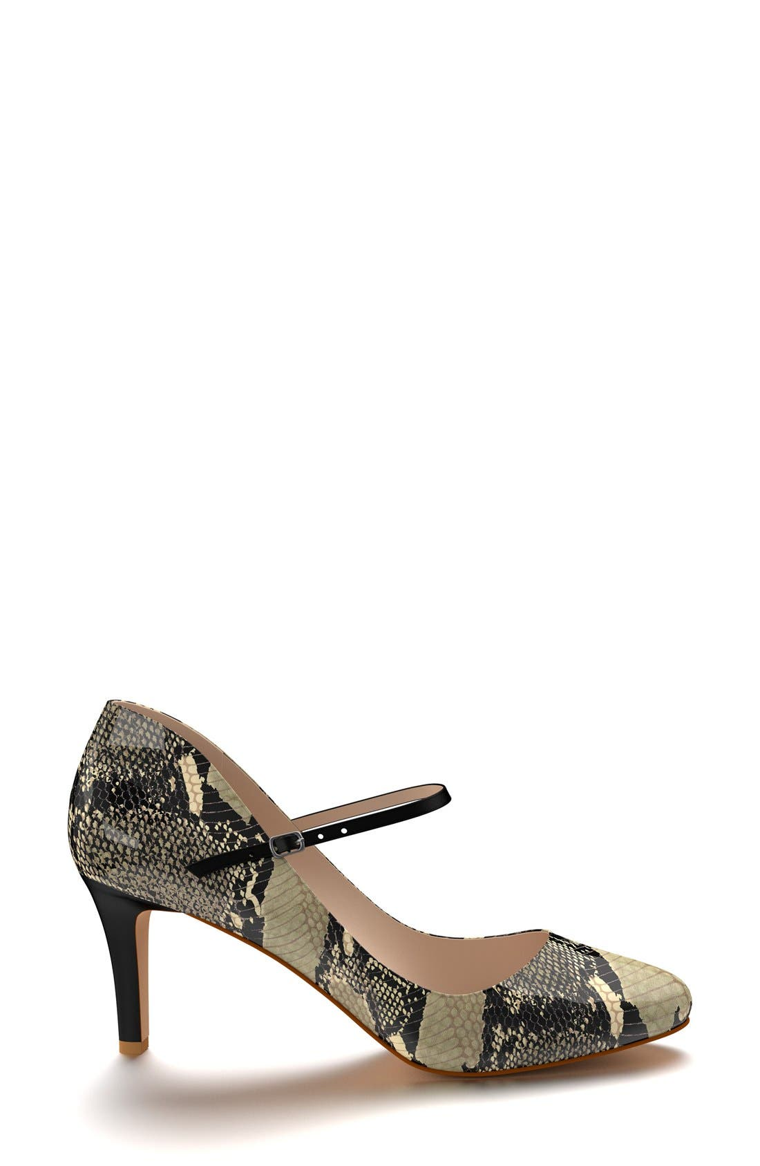 Mary Jane Pump,                             Alternate thumbnail 4, color,                             Beige Snake Print Leather
