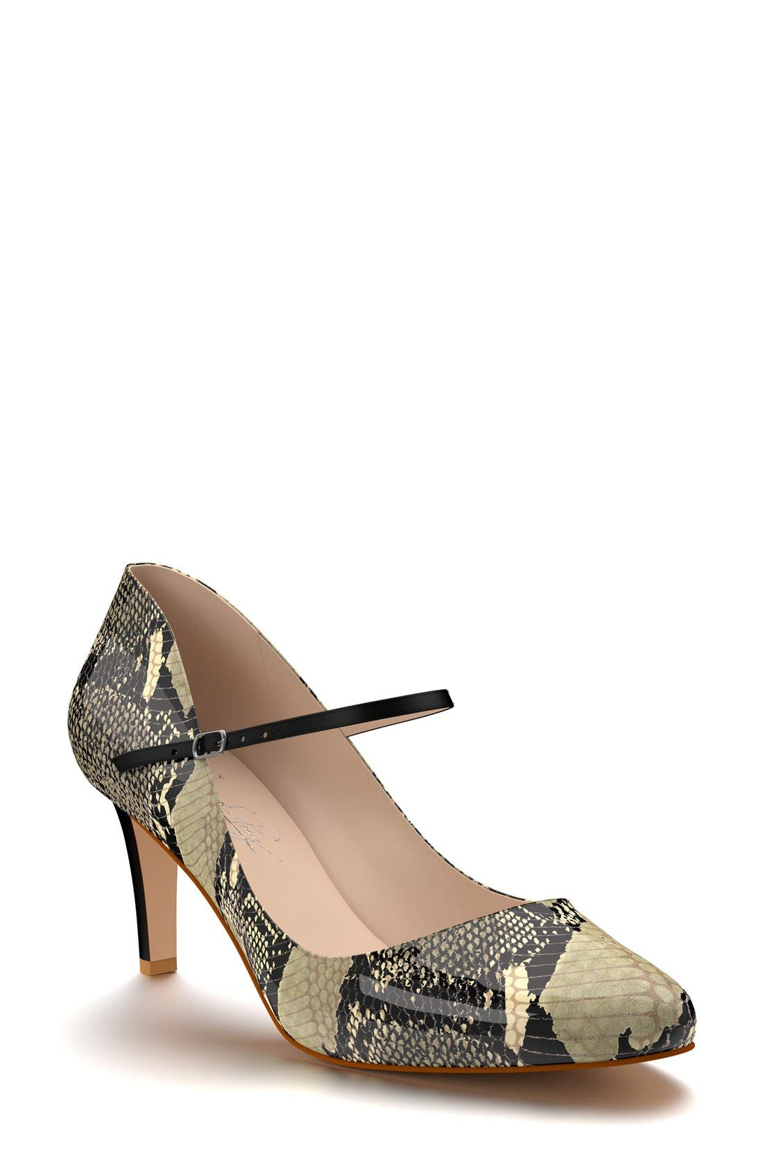Mary Jane Pump,                             Main thumbnail 1, color,                             Beige Snake Print Leather