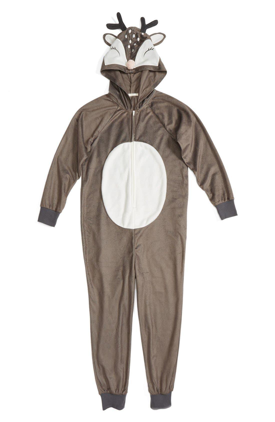 Alternate Image 1 Selected - PJ Salvage Deer Fitted One-Piece Pajamas (Little Girls & Big Girls)