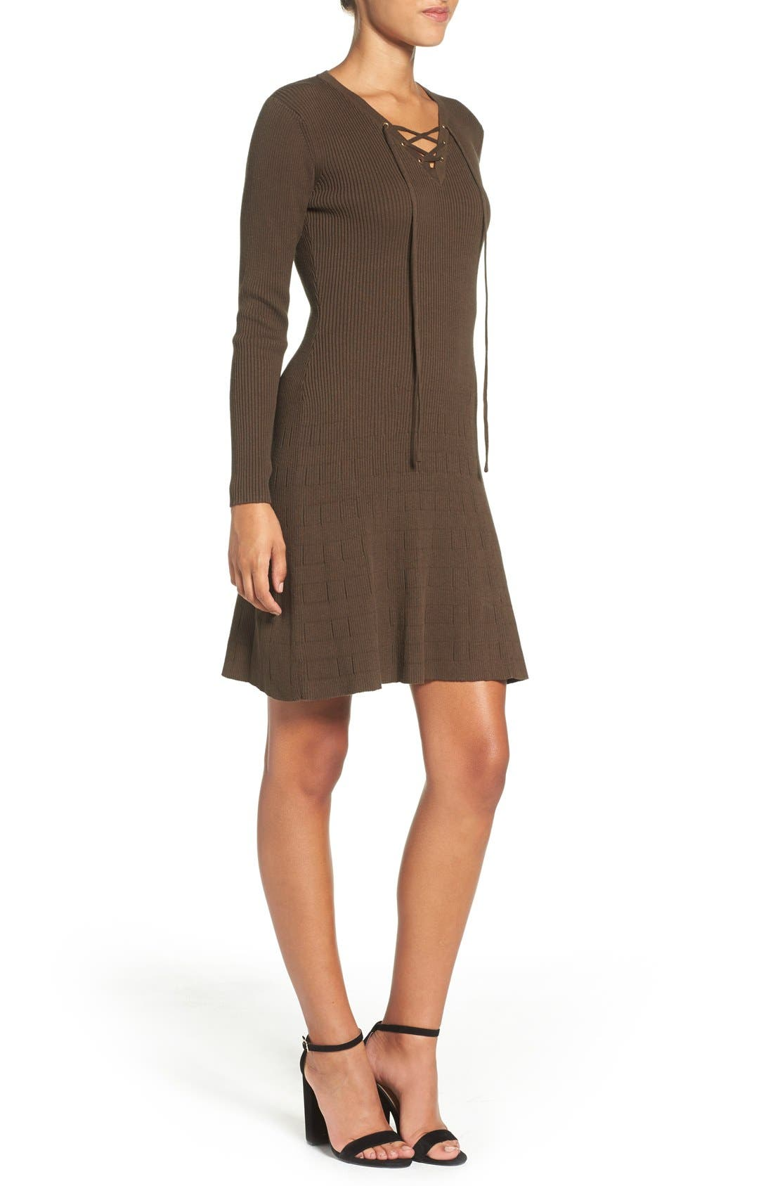 Lace-Up Ribbed A-Line Dress,                             Alternate thumbnail 3, color,                             Olive