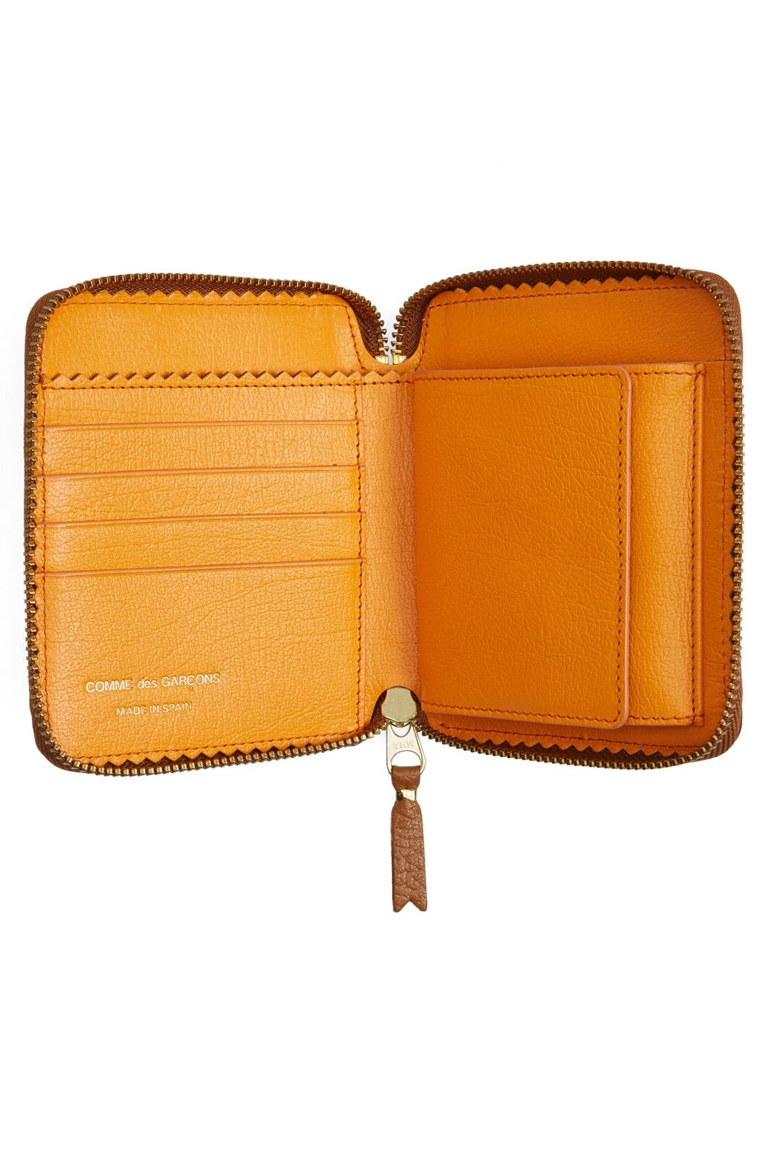 Leather Wallet,                             Alternate thumbnail 2, color,                             Brown/ Orange