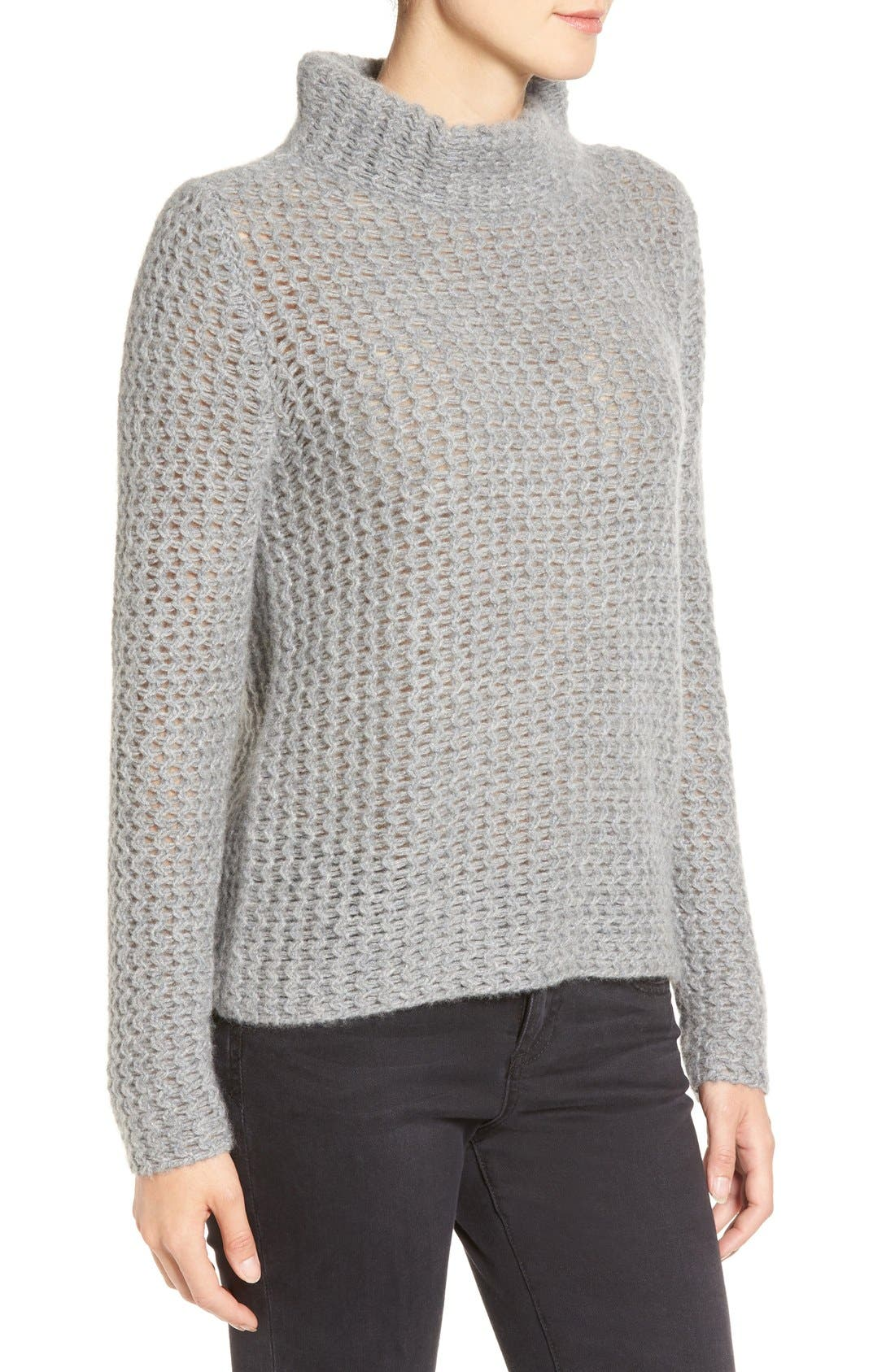 Stitch Detail Cashmere Mock Neck Sweater,                             Alternate thumbnail 4, color,                             Grey