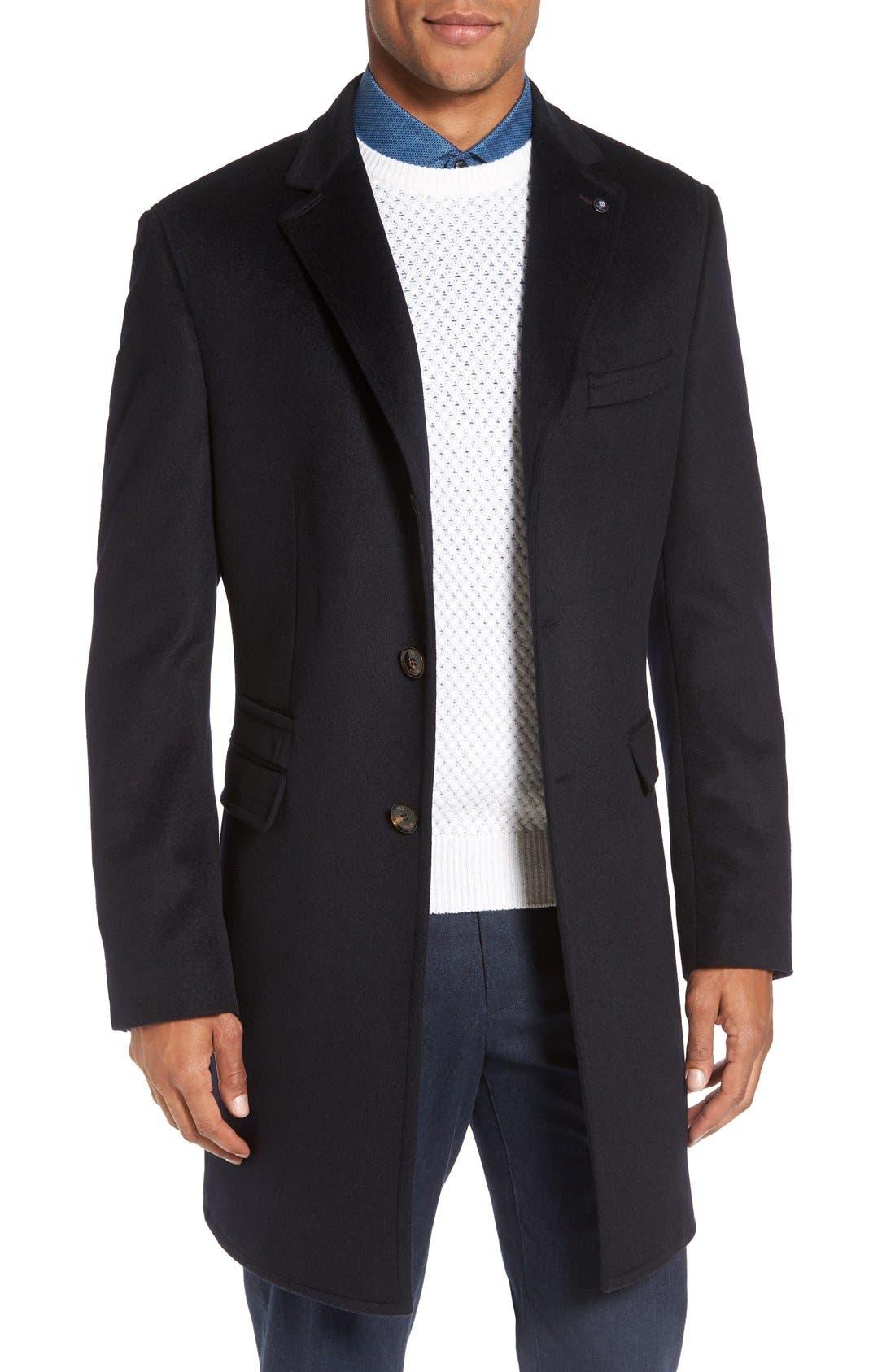 Main Image - Ted Baker London Alaska Trim Fit Wool & Cashmere Overcoat