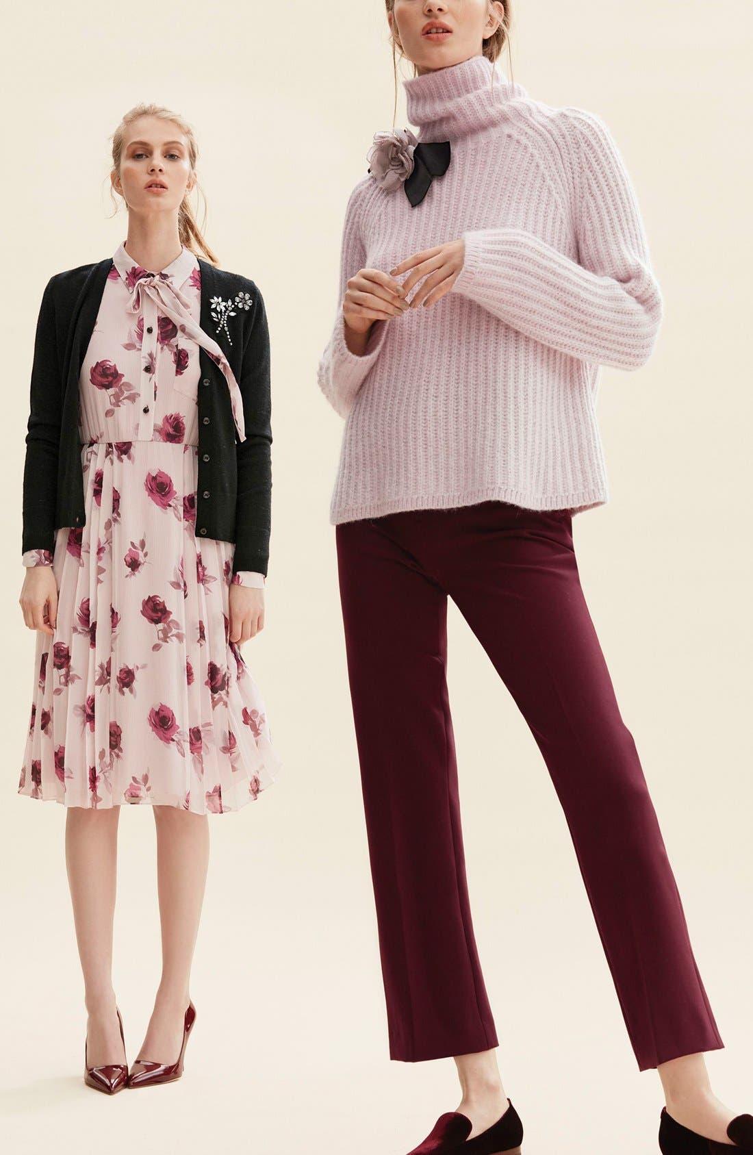 Alternate Image 6  - kate spade new york 'encore rose' tie neck pleat chiffon dress