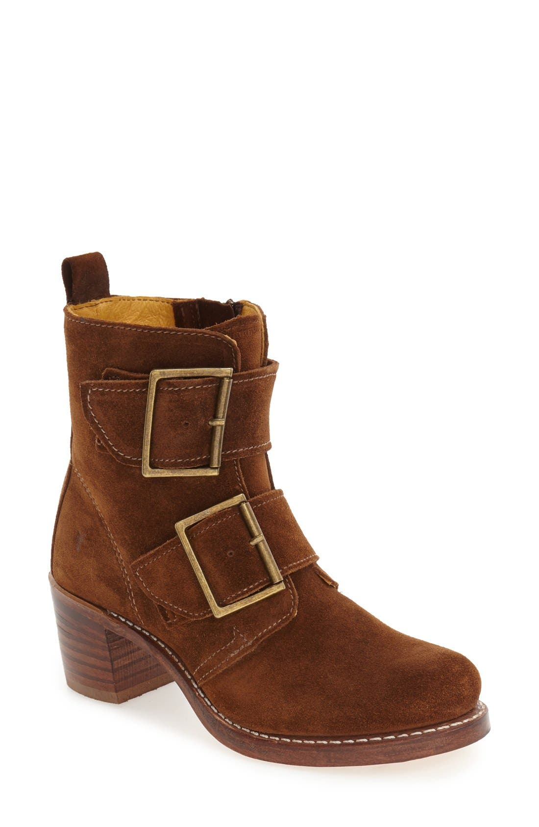 'Sabrina' Double Buckle Boot,                             Main thumbnail 1, color,                             Wood Oiled Suede