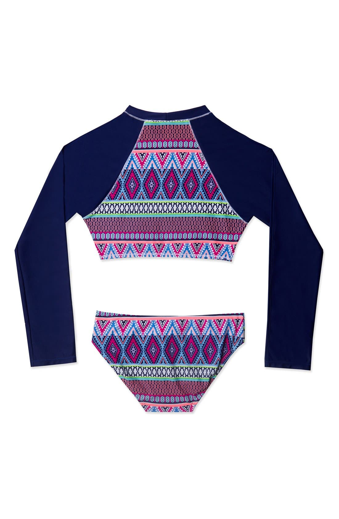 'Stripe Fusion' Two-Piece Rashguard Swimsuit,                             Alternate thumbnail 3, color,                             Navy Pink