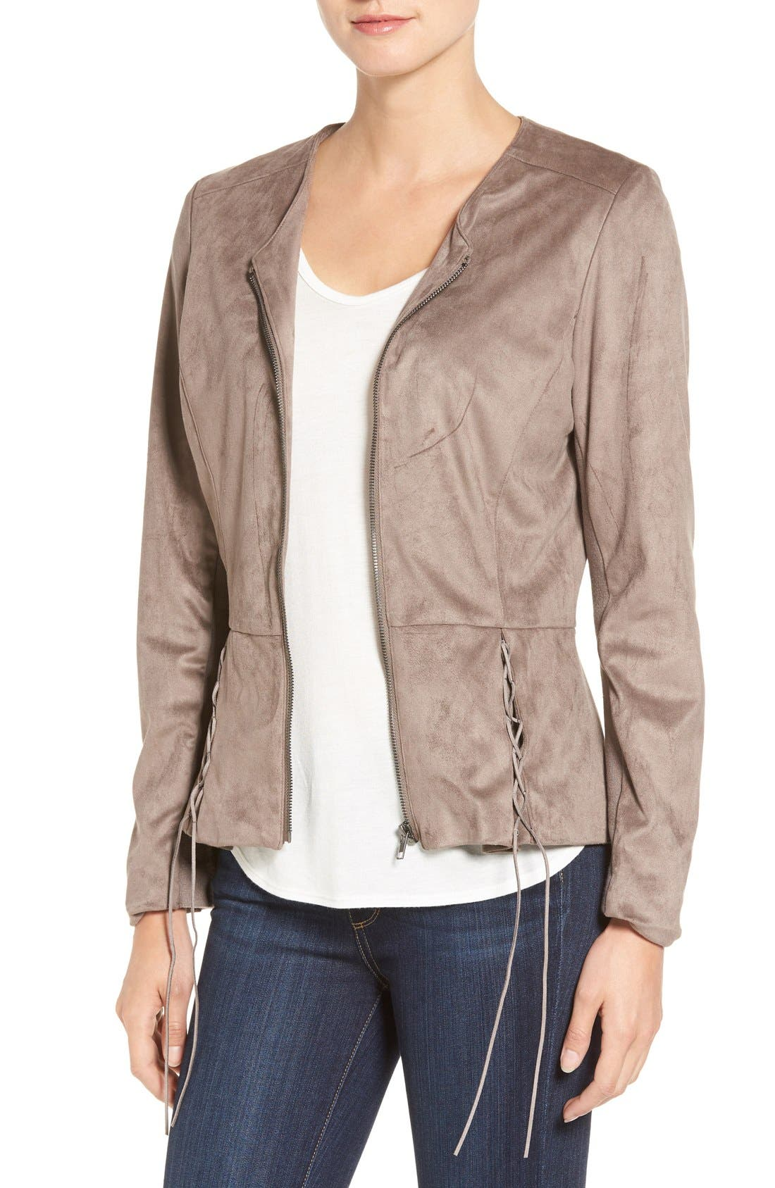 Lace-Up Peplum Faux Suede Jacket,                             Main thumbnail 1, color,                             Buff