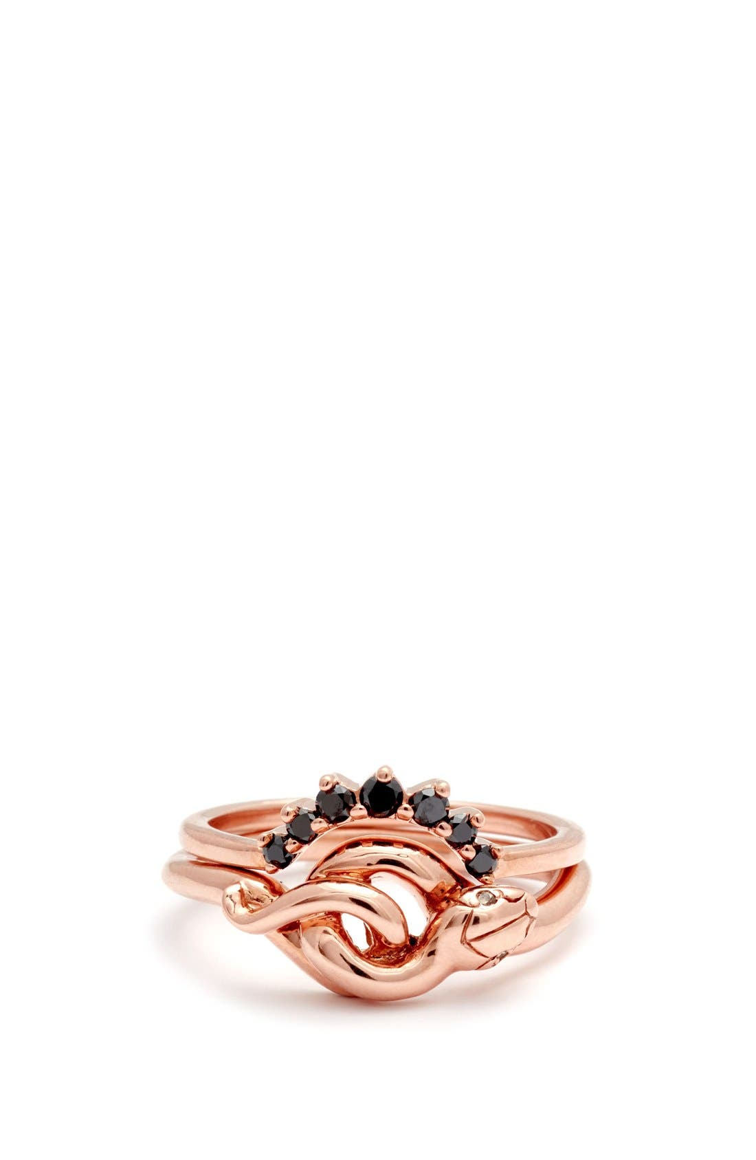 'Small Serpent' Rose Gold Ring,                             Alternate thumbnail 3, color,                             Rose/ Gold/ Champagne