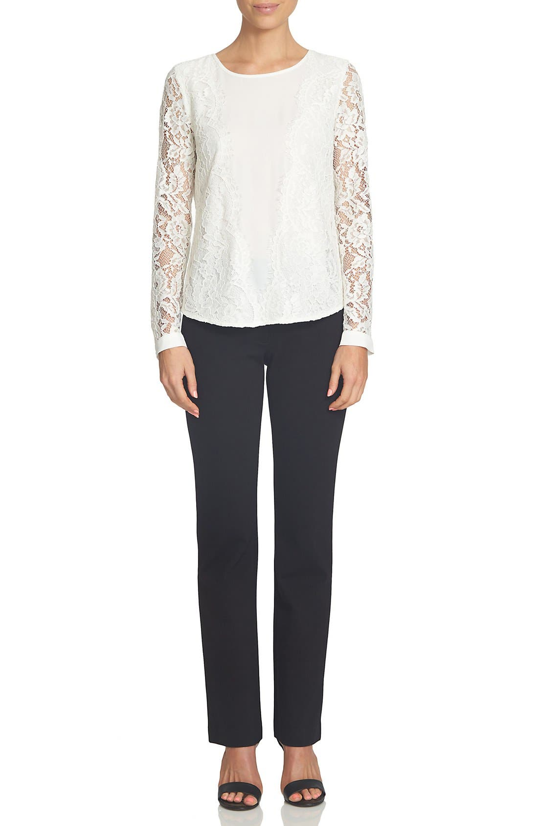 Scallop Lace & Crepe Blouse,                             Alternate thumbnail 2, color,                             New Ivory
