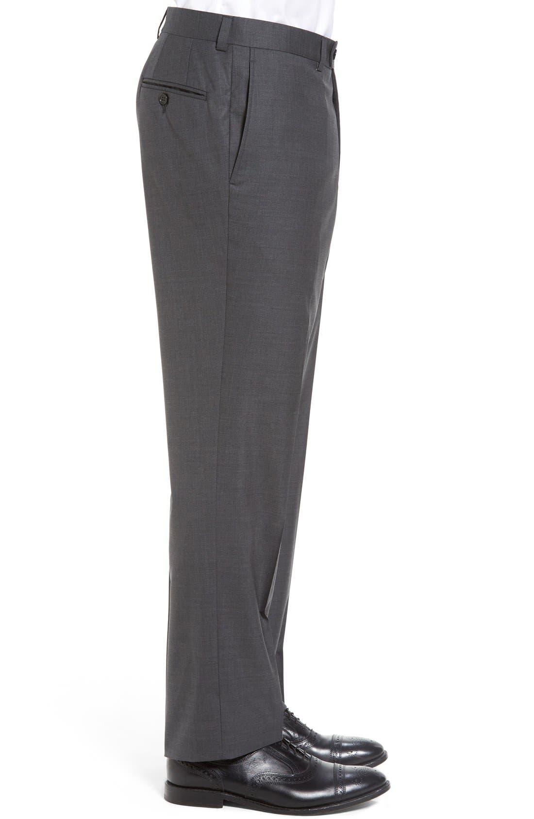 Ryan Regular Fit Wool Trousers,                             Alternate thumbnail 3, color,                             Charcoal