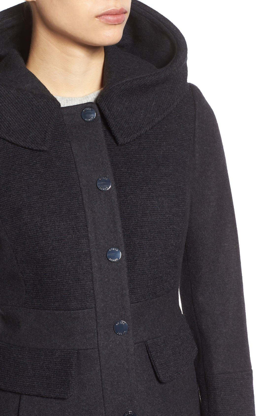 Wool Blend Hooded Coat,                             Alternate thumbnail 4, color,                             Charcoal/ Black