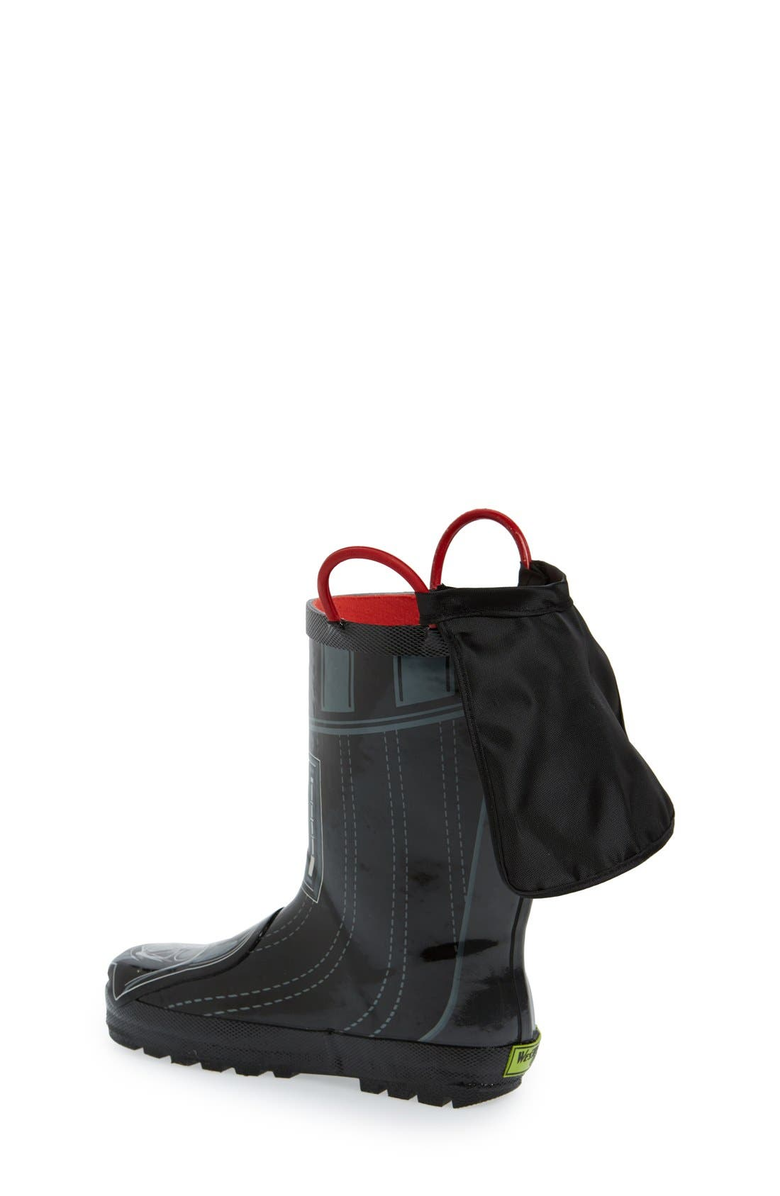 'Star Wars<sup>™</sup> - Darth Vader' Waterproof Rain Boot,                             Alternate thumbnail 2, color,                             Black
