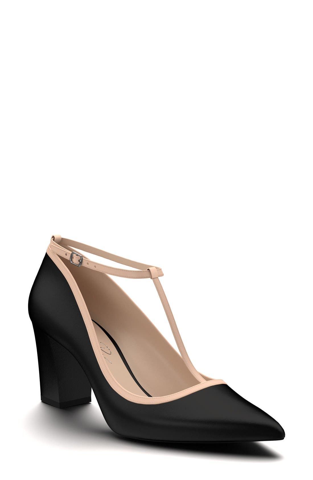 Pointy Toe Pump,                             Main thumbnail 1, color,                             Black Leather