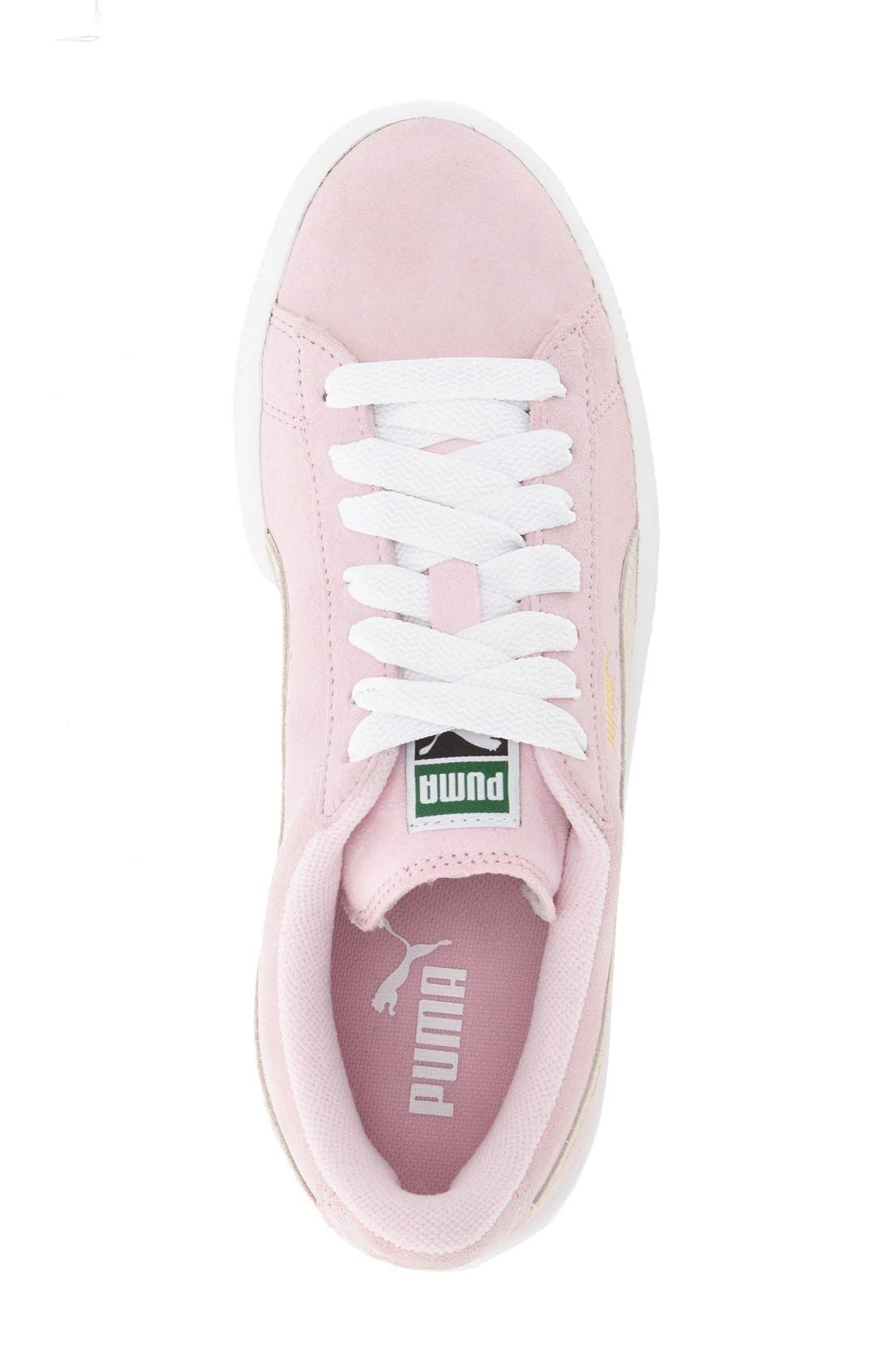 'Suede Jr.' Sneaker,                             Alternate thumbnail 3, color,                             Pink Lady/ White/ Team Gold