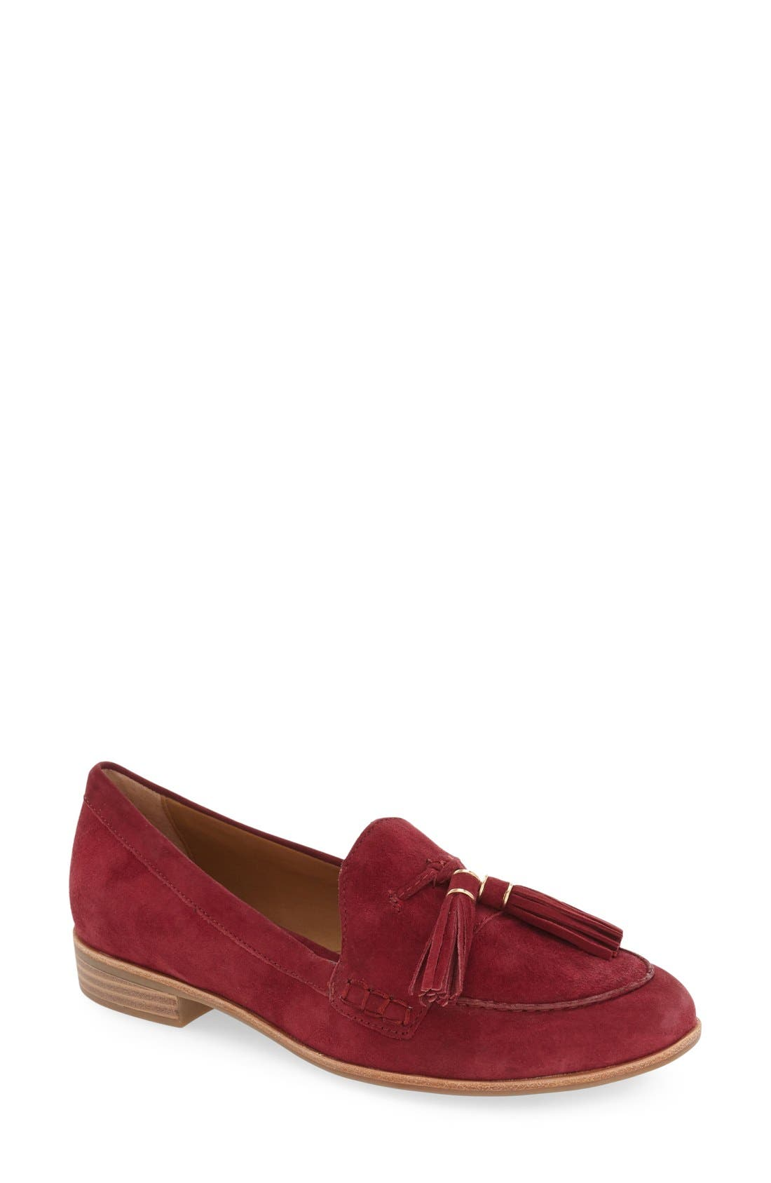 'Estelle' Tassel Loafer,                             Main thumbnail 1, color,                             Cherry Red Suede