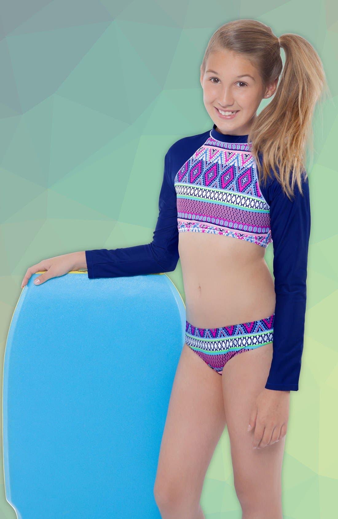 Alternate Image 2  - Gossip Girl 'Stripe Fusion' Two-Piece Rashguard Swimsuit (Big Girls)