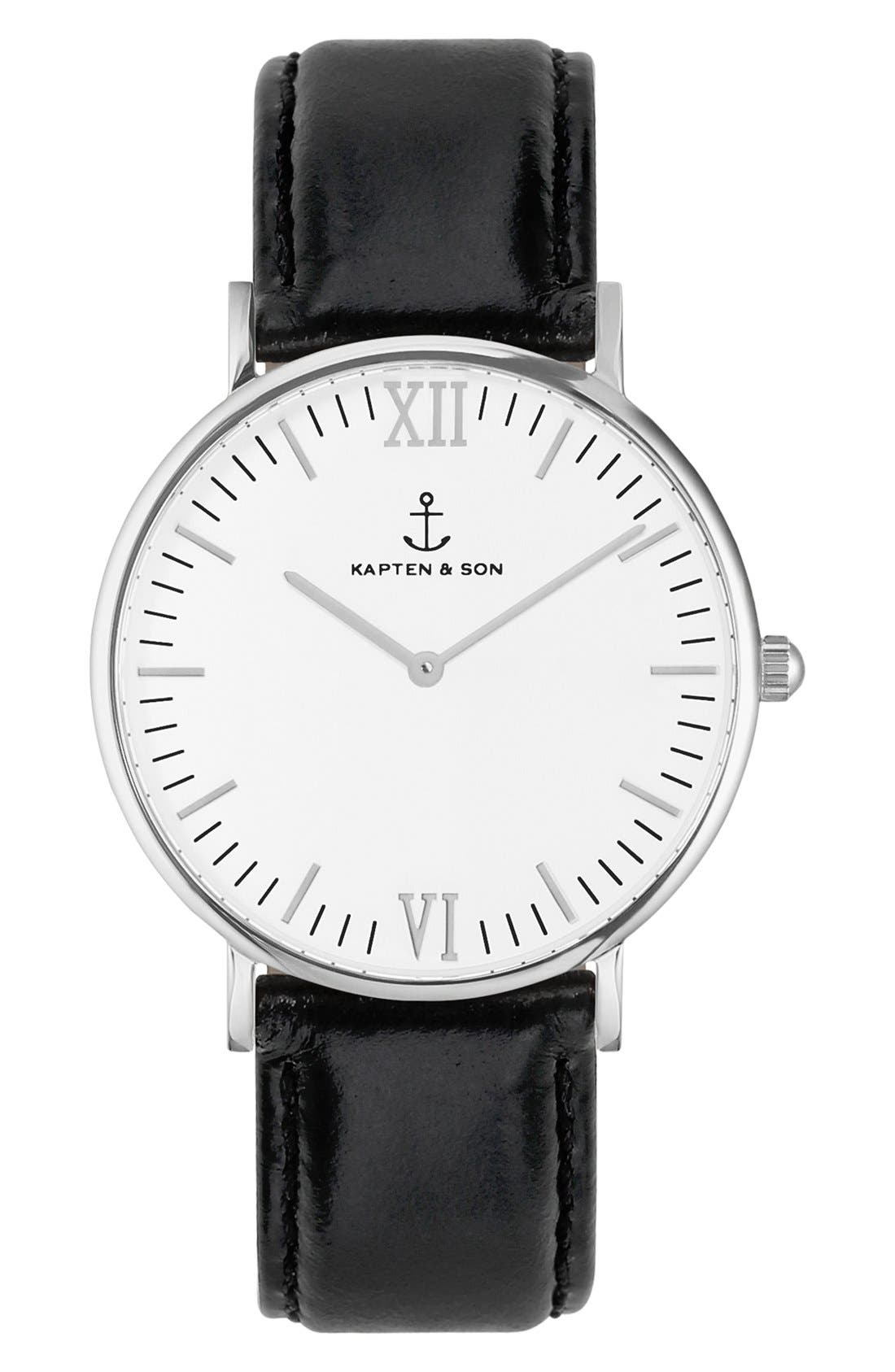 Campus Leather Strap Watch, 40mm,                         Main,                         color, Black/ White/ Silver