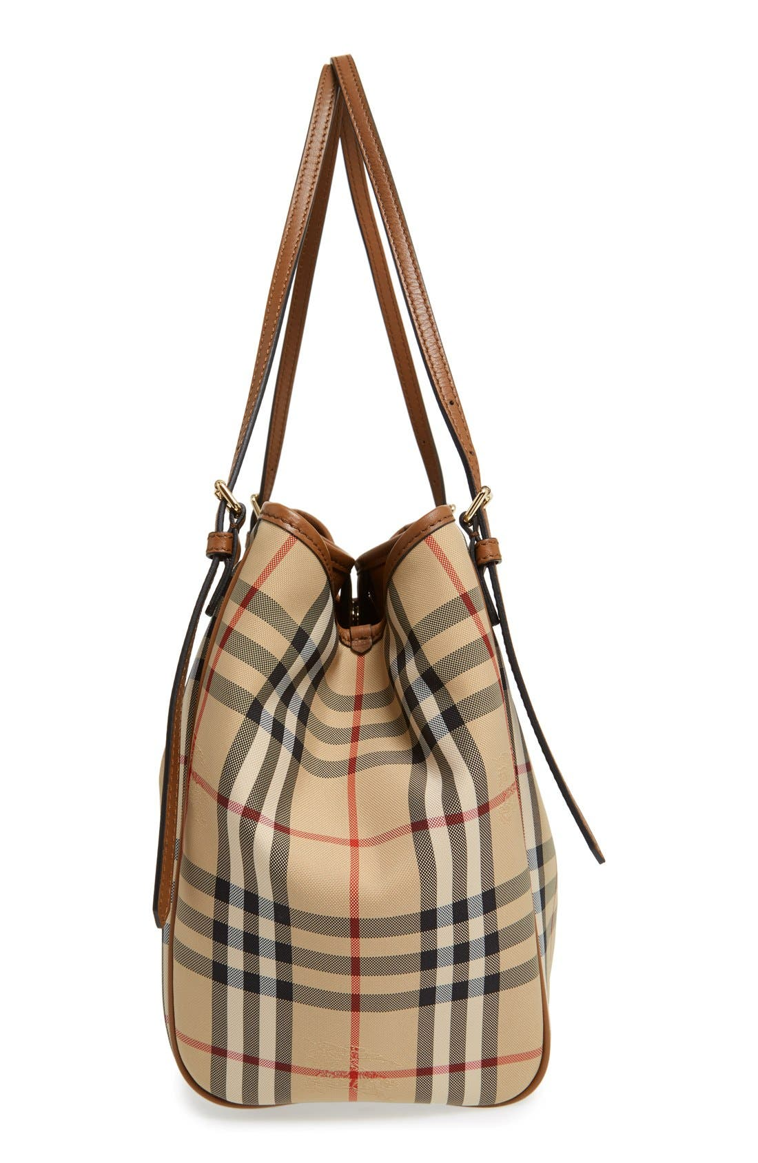Alternate Image 5  - Burberry Small Canter Check & Leather Tote