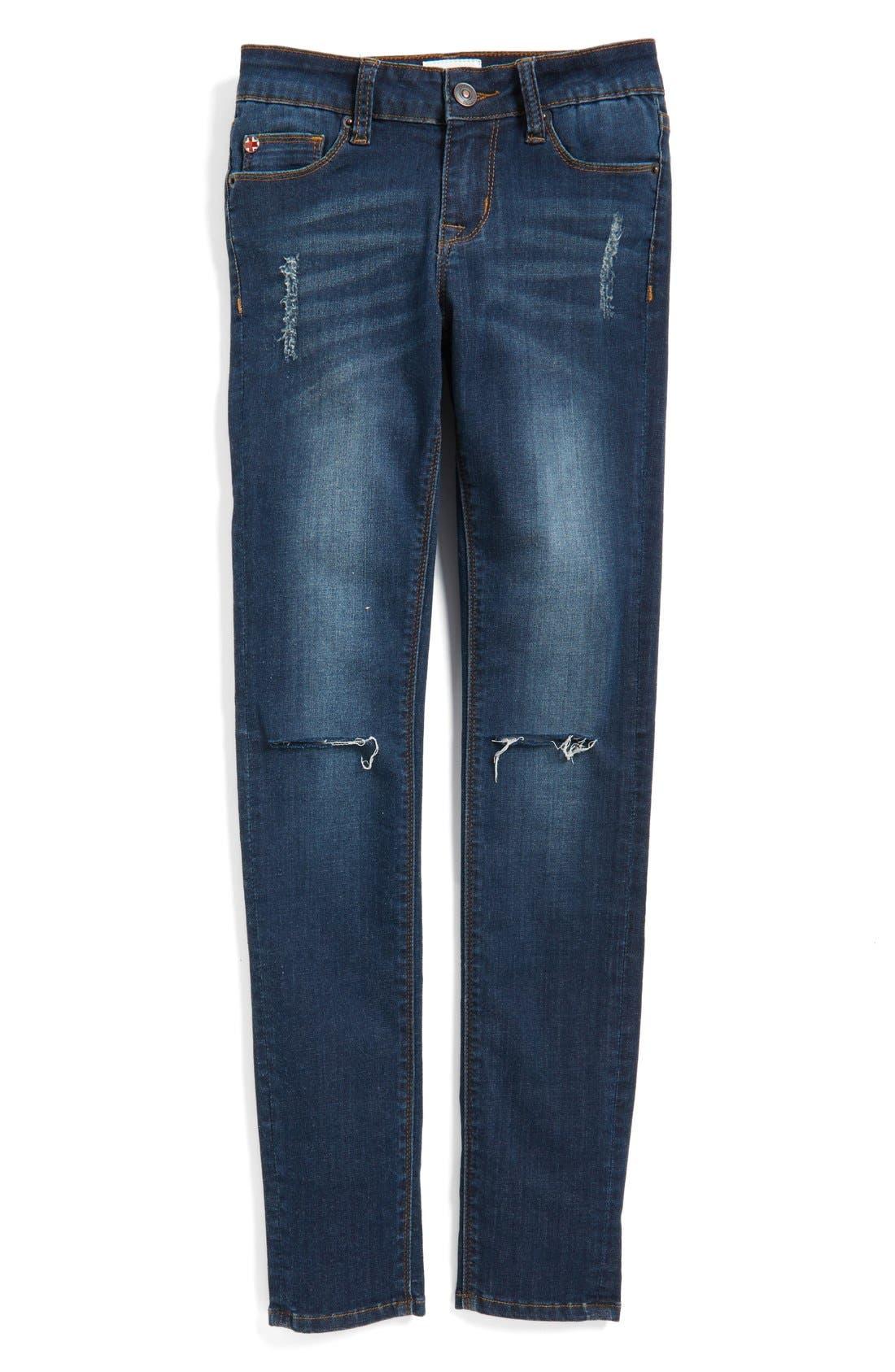 Main Image - Hudson Kids 'Dolly' Destroyed Skinny Jeans (Big Girls)