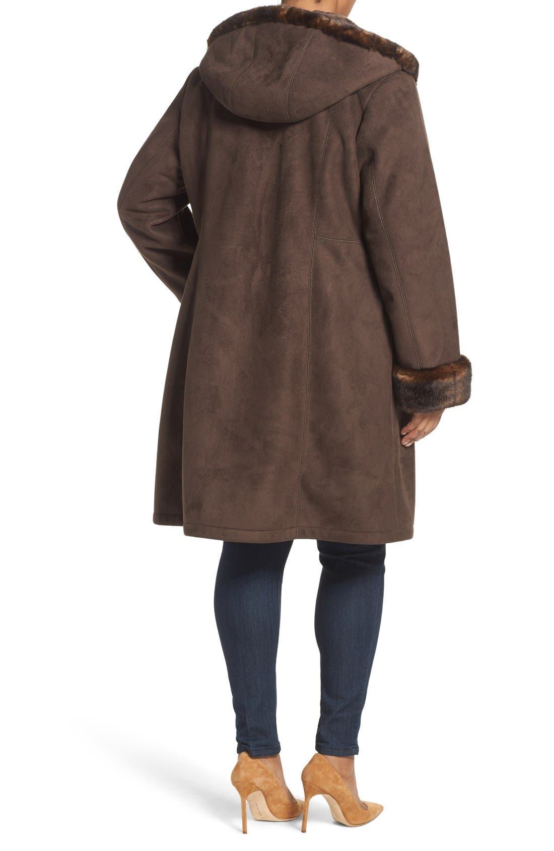 Alternate Image 2  - Gallery Faux Shearling A-Line Coat (Plus Size)