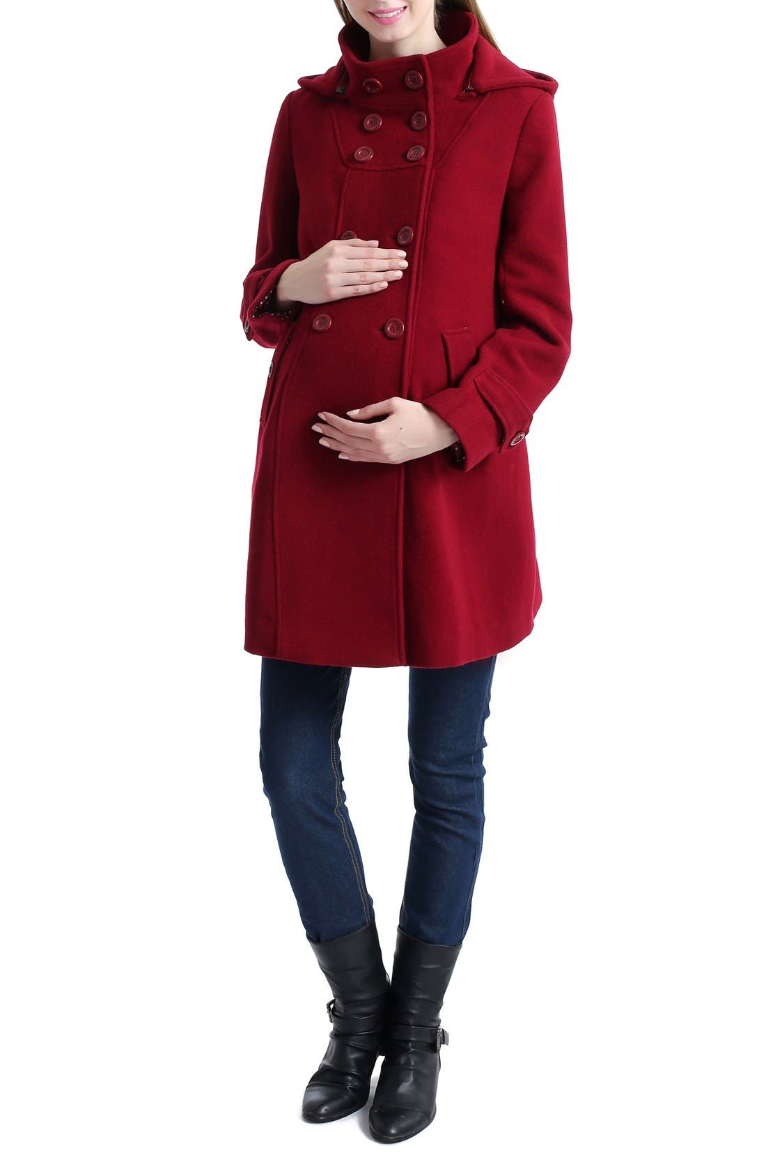 'Penelope' Maternity Trench Coat,                             Alternate thumbnail 4, color,                             Wine