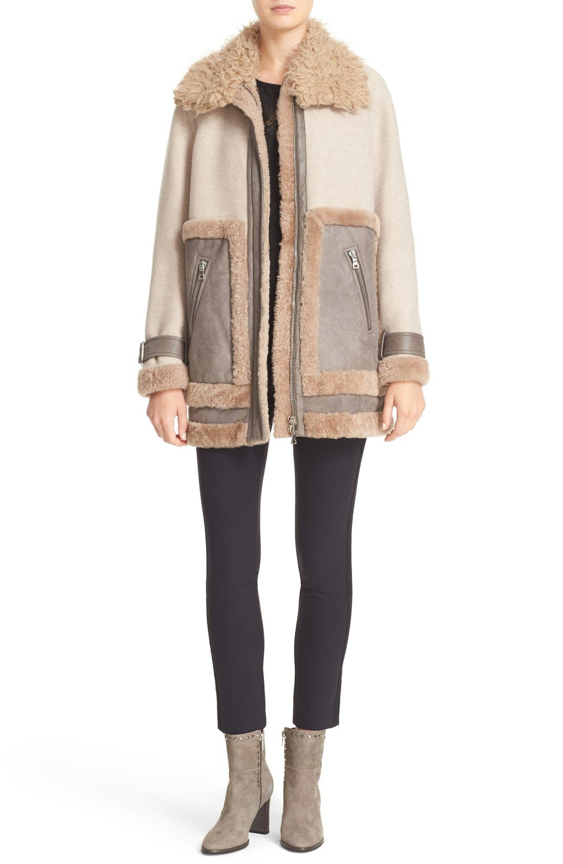 Alternate Image 2  - Rebecca Taylor Genuine & Faux Shearling Mixed Media Coat