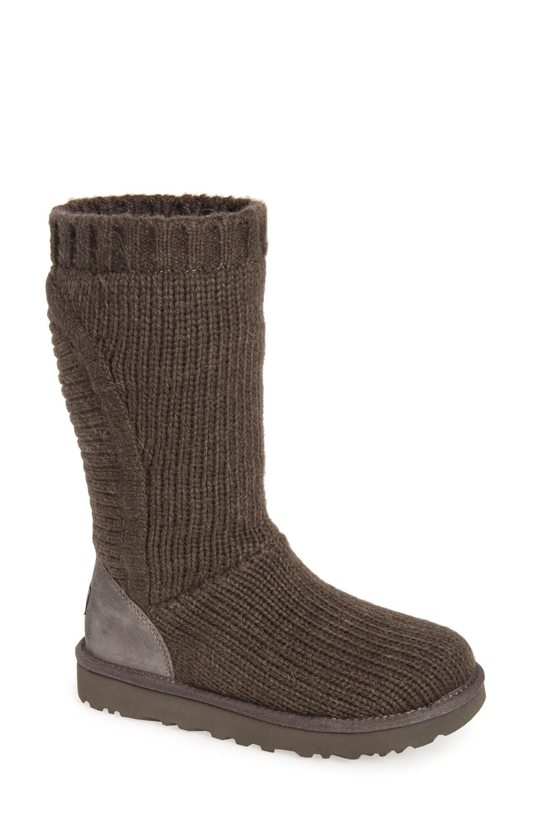 'Capra' Ribbed Knit Genuine Shearling Lined Boot,                             Main thumbnail 1, color,                             Grey Fabric