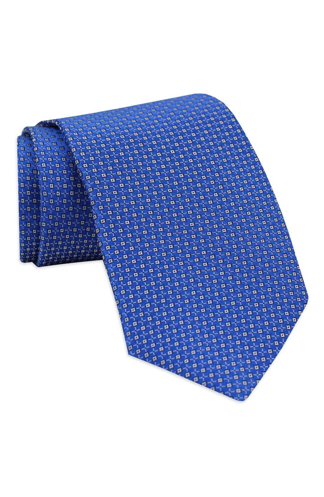 Geometric Woven Silk Tie,                         Main,                         color, Royal Blue