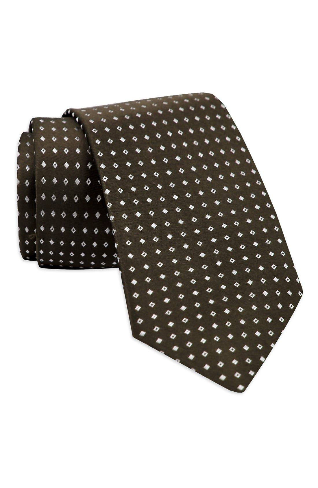 Geometric Medallion Silk Tie,                         Main,                         color, Brown