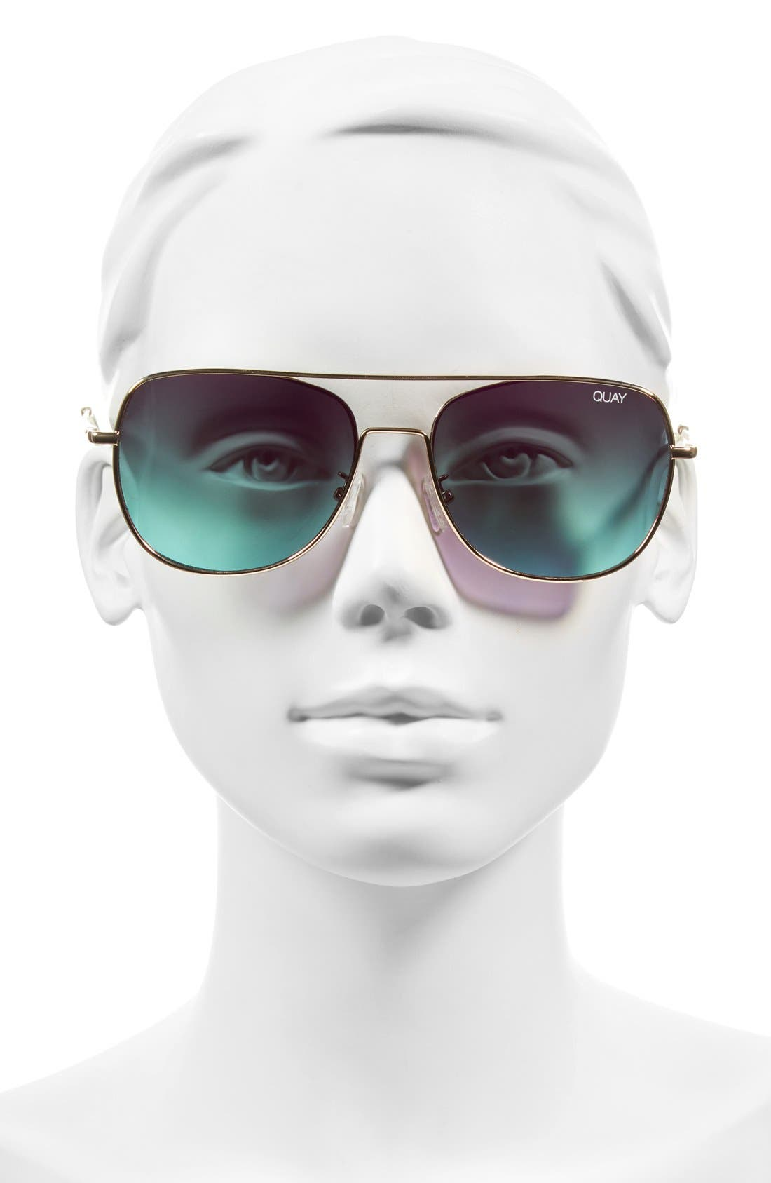 'Running Riot' 58mm Aviator Sunglasses,                             Alternate thumbnail 2, color,                             Gold/ Pink